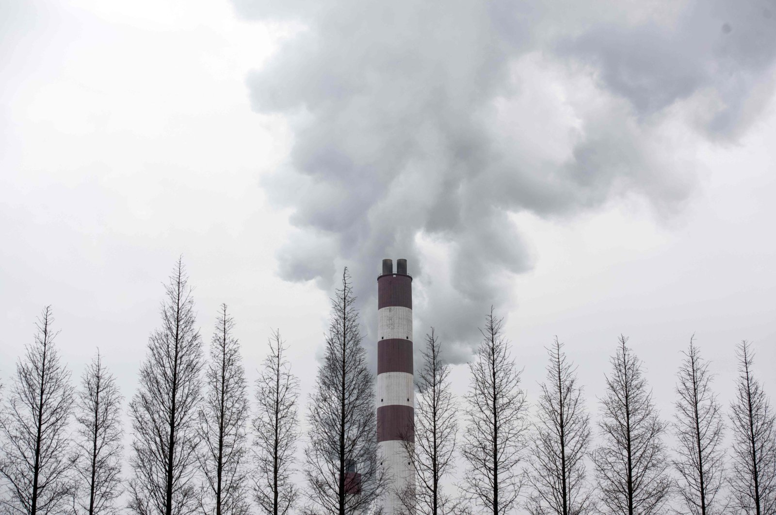 This file photo taken on March 22, 2016, shows smoke billowing from a chimney of the Shanghai Waigaoqiao Power Generator Company coal power plant in Shanghai, China. (AFP Photo)