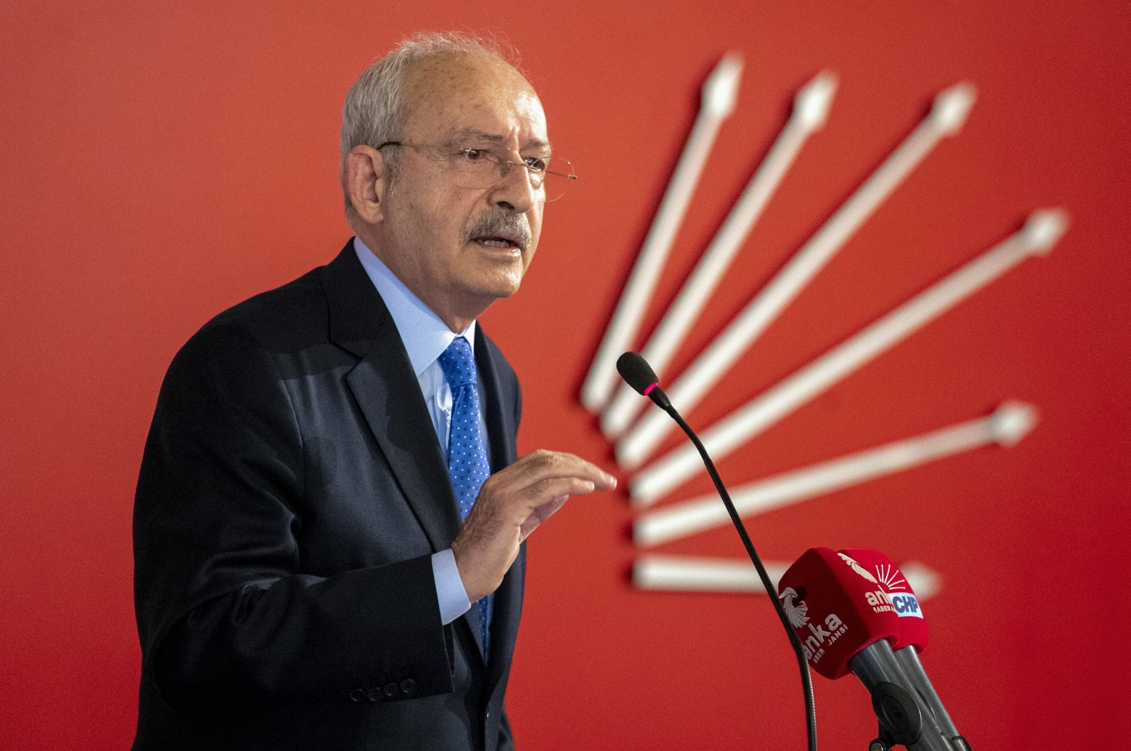 Main opposition Republican People's Party (CHP) Chairperson Kemal Kılıçdaroğlu speaks at a meeting with farmers at the CHP headquarters in Ankara on Feb. 3, 2021. (AA Photo)