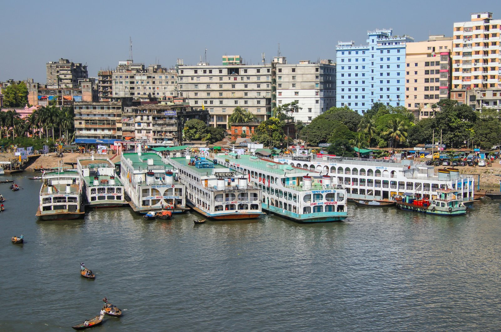 Sadarghat, situated on the banks of the Buriganga River, is the country's largest and busiest river port, Dhaka, Bangladesh, Nov. 10, 2020. (Shutterstock Photo)