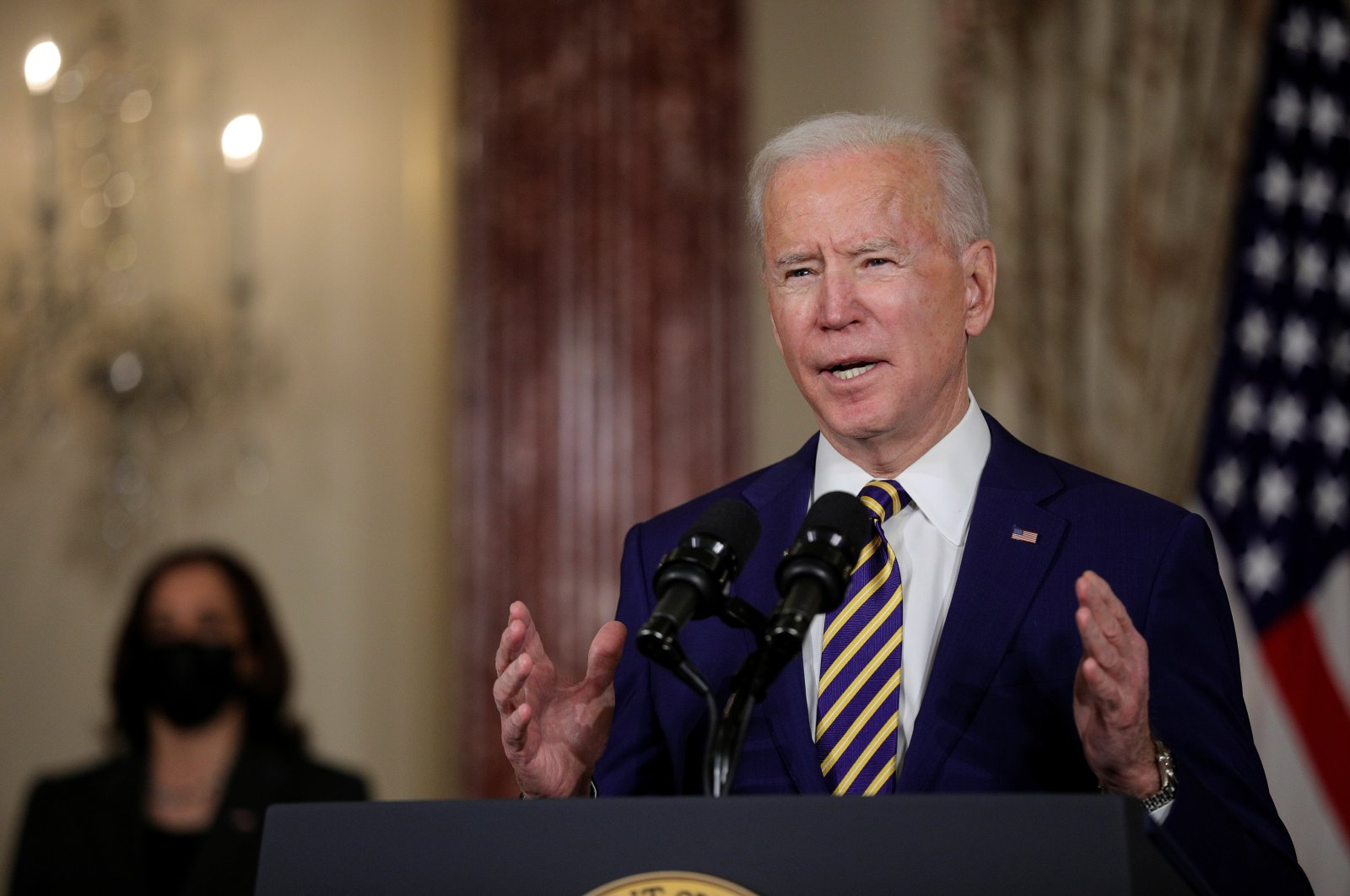 U.S. President Joe Biden delivers a foreign policy address as Vice President Kamala Harris listens during a visit to the State Department in Washington D.C., U.S., Feb. 4, 2021. (Reuters Photo)