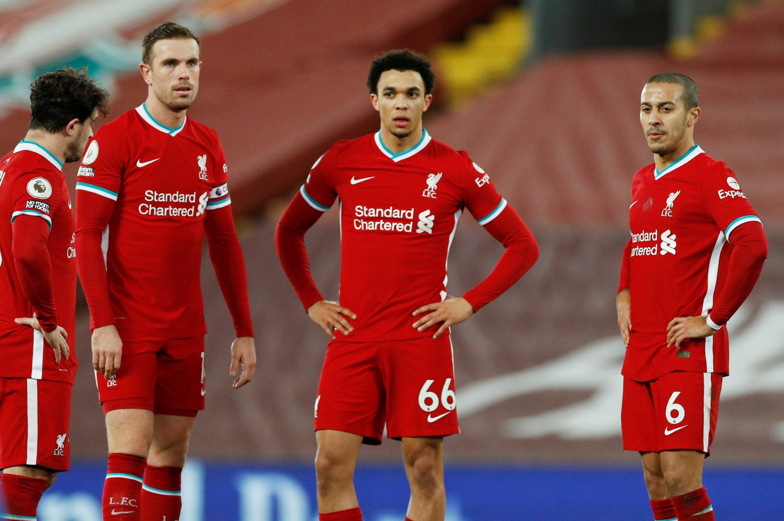 Liverpool players look dejected during a Premier League match against Brighton & Hove Albion at the Anfield stadium, in Liverpool, Britain, Feb. 3, 2021. (Reuters Photo)