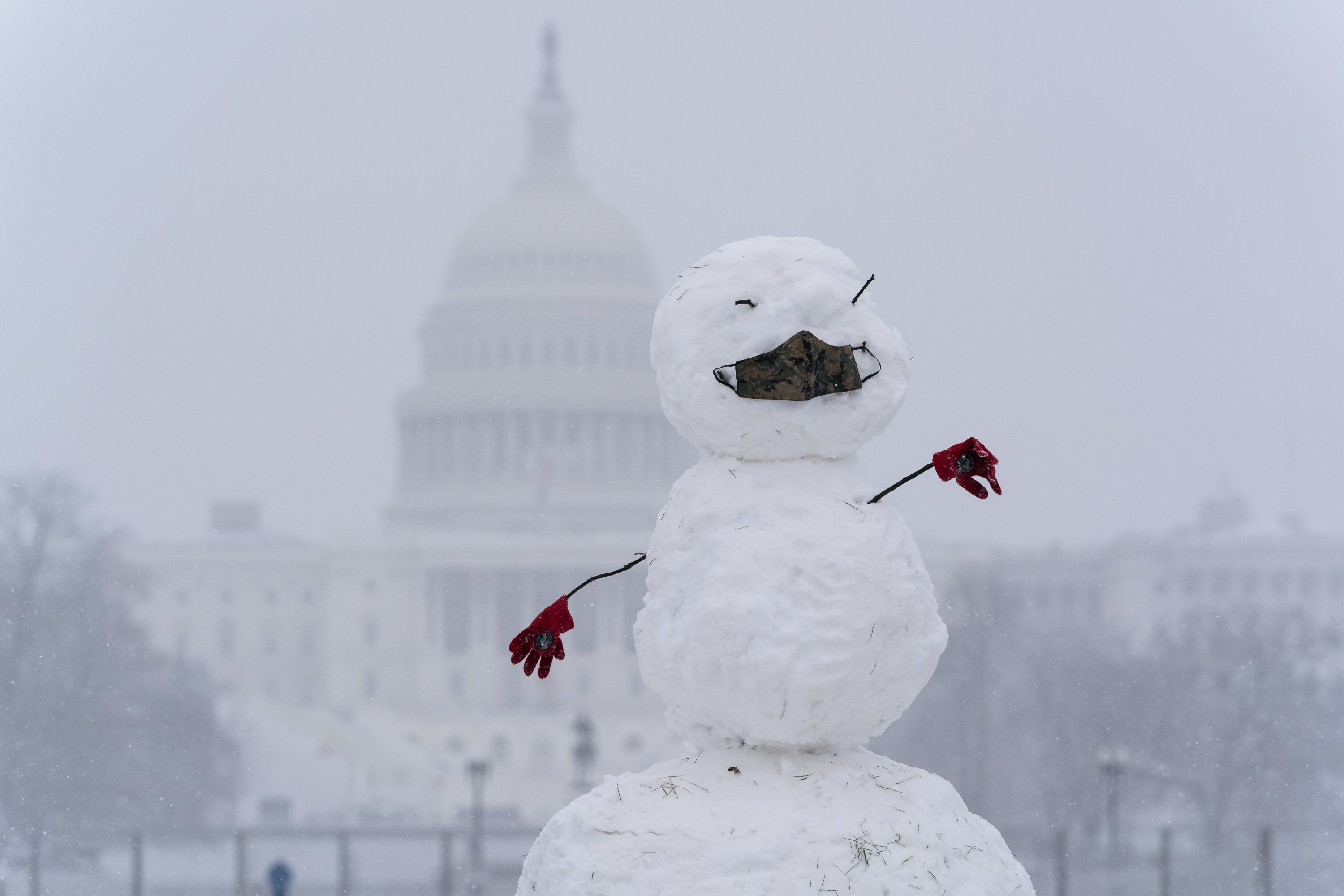 A snowman on the National Mall wears a face mask as snow falls in front of the U.S. Capitol, in Washington, D.C., U.S., Jan. 31, 2021. (AP Photo)