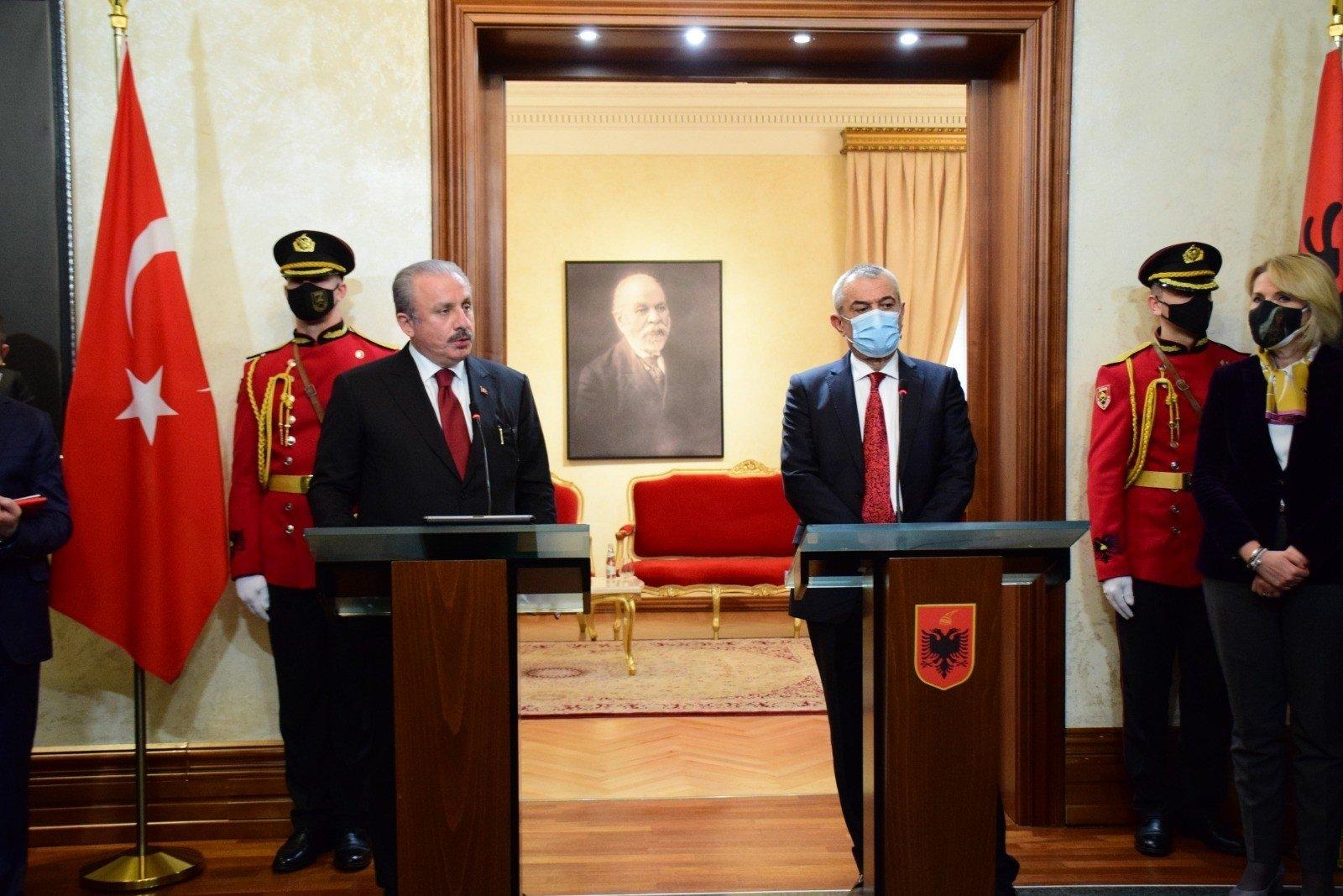 Parliament Speaker Mustafa Şentop in a joint news conference with his Albanian counterpart Gramoz Ruci, Tirana, Albania, Feb. 4, 2021. (IHA Photo)