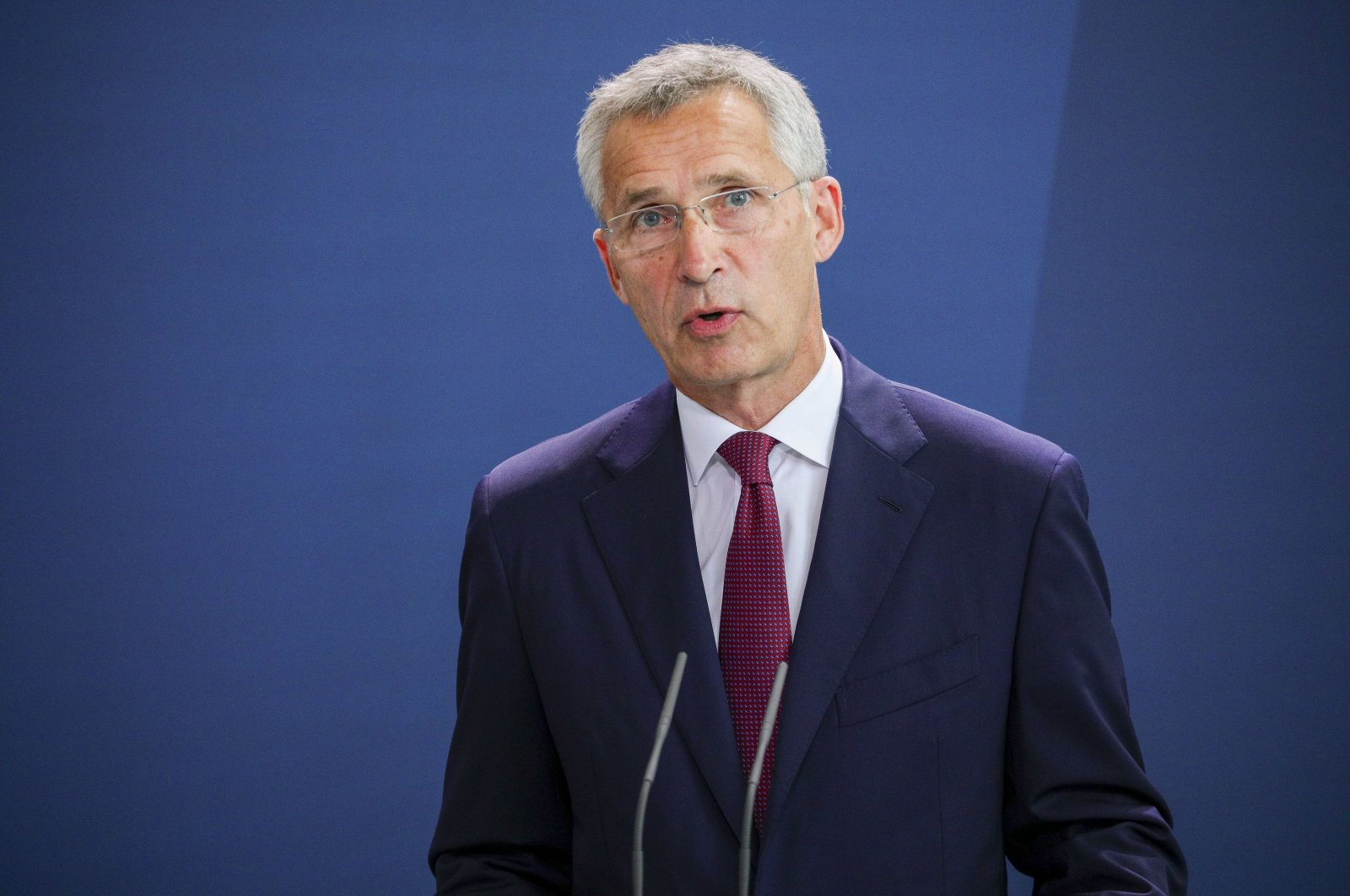 NATO Secretary-General Jens Stoltenberg speaks to the media prior to talks with German Chancellor Angela Merkel, at the Chancellery in Berlin, Germany, Aug. 27, 2020. (EPA-EFE)