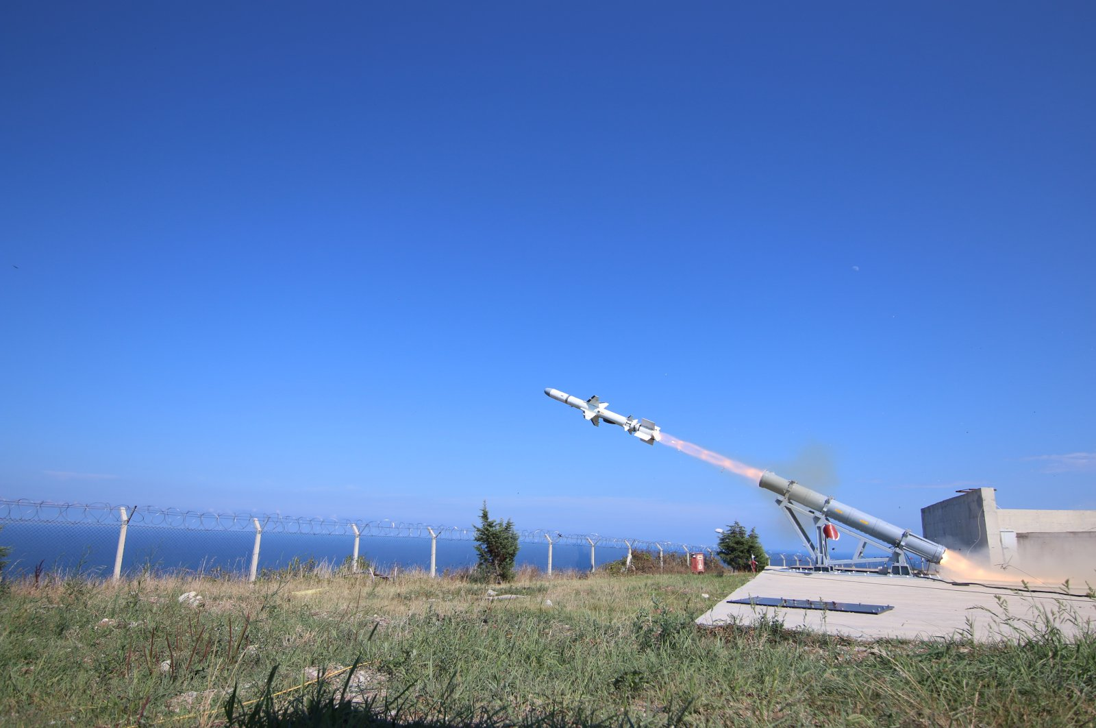 The maritime missile Atmaca is tested in Turkey's northernmost province, Sinop, July 1, 2020. (Roketsan via AA)