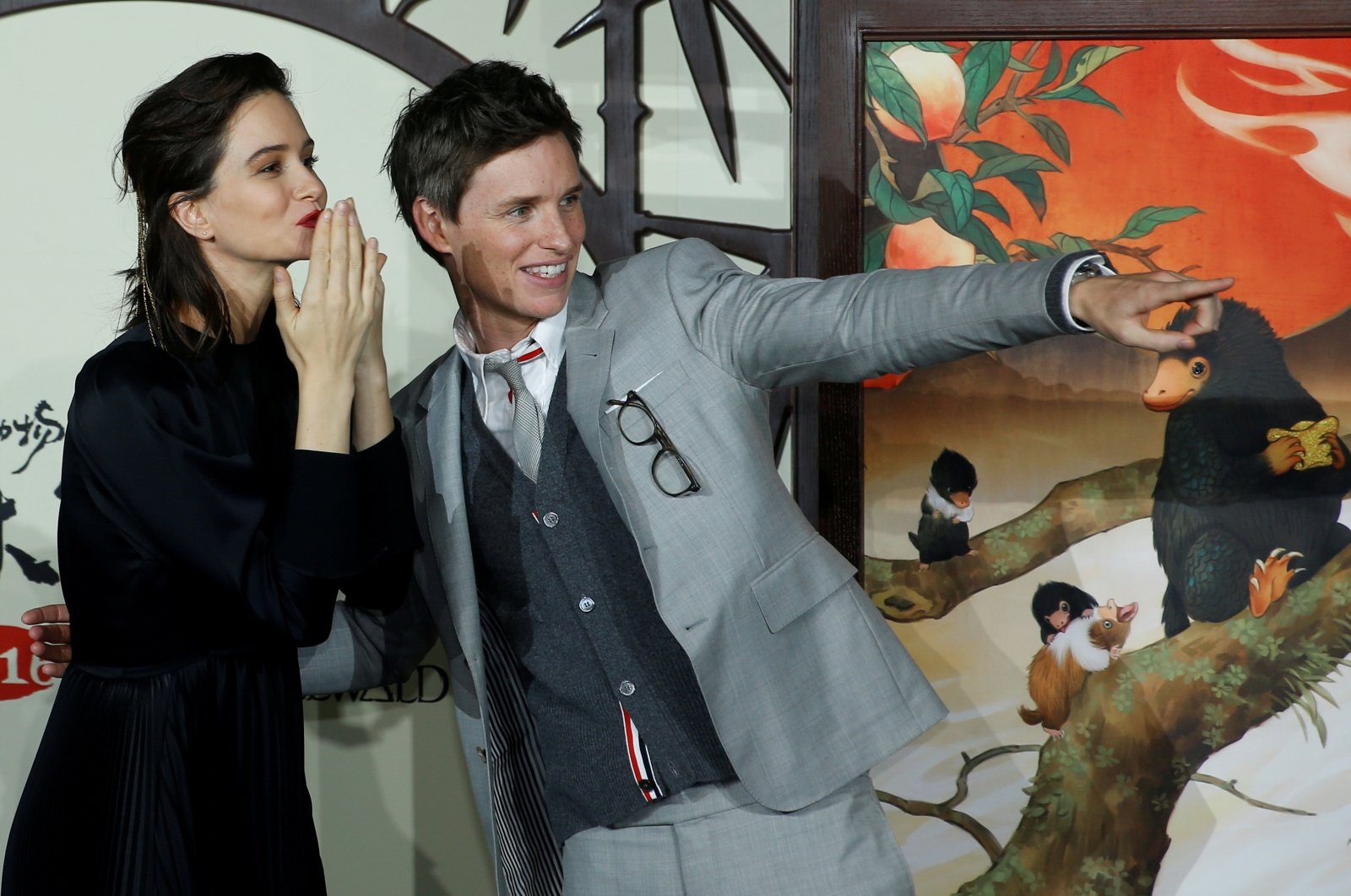 "Cast members Katherine Waterston and Eddie Redmayne attend a promotion for the movie ""Fantastic Beasts: The Crimes of Grindelwald"" in Beijing, China, Oct. 28, 2018. (Reuters Photo)"