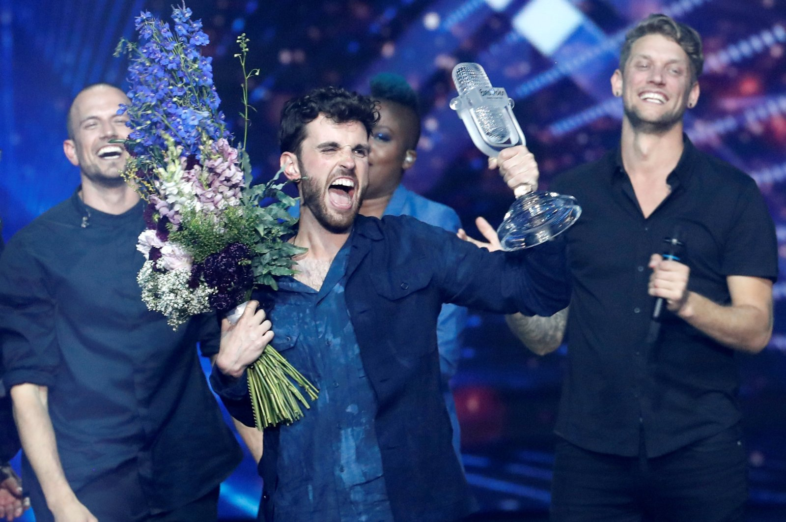 Duncan Laurence of the Netherlands reacts after winning the 2019 Eurovision Song Contest in Tel Aviv, Israel on May 19, 2019. (Reuters Photo)