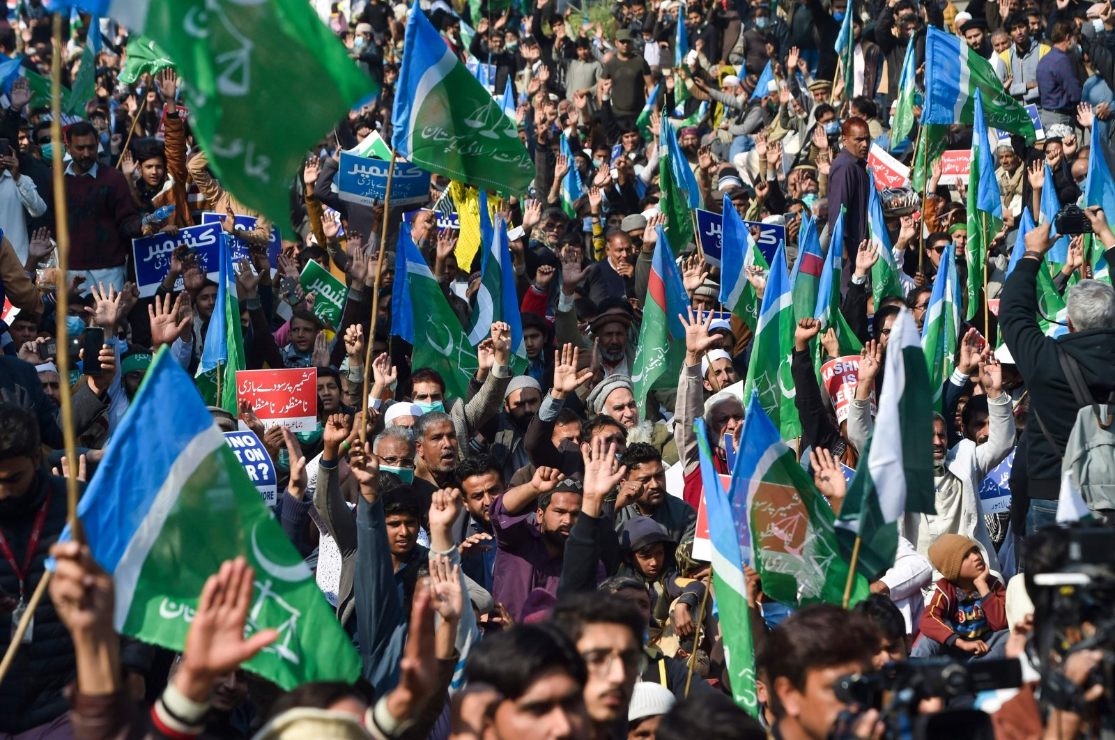 Jamaat-e-Islami (JI) party activists and supporters take part in an anti-India demonstration to mark Kashmir Solidarity Day in Lahore, Pakistan, Feb. 5, 2021. (AFP Photo)