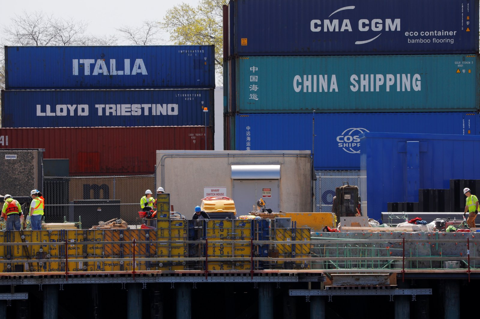 """Shipping containers, including one labelled """"China Shipping"""" and another """"Italia,"""" are stacked at the Paul W. Conley Container Terminal in Boston, Massachusetts, U.S., May 9, 2018. (Reuters File Photo)"""