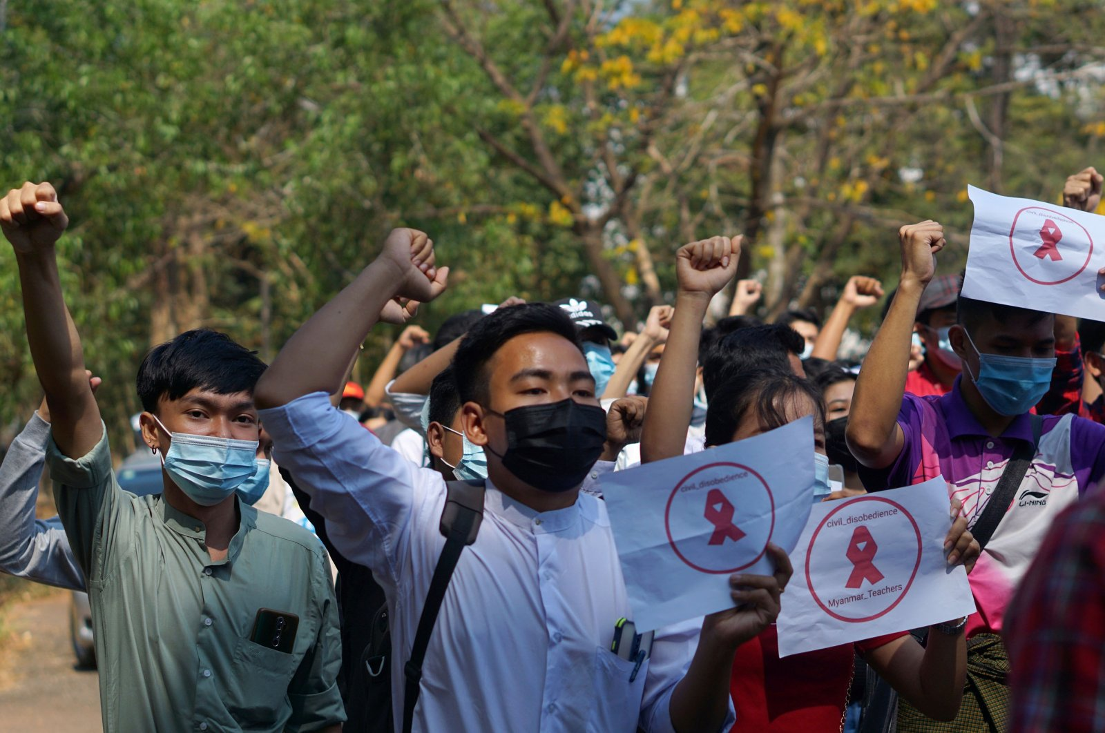 Students from Dagon University take part in a demonstration against the military coup in Yangon, Myanmar, Feb. 5, 2021. (Reuters Photo)
