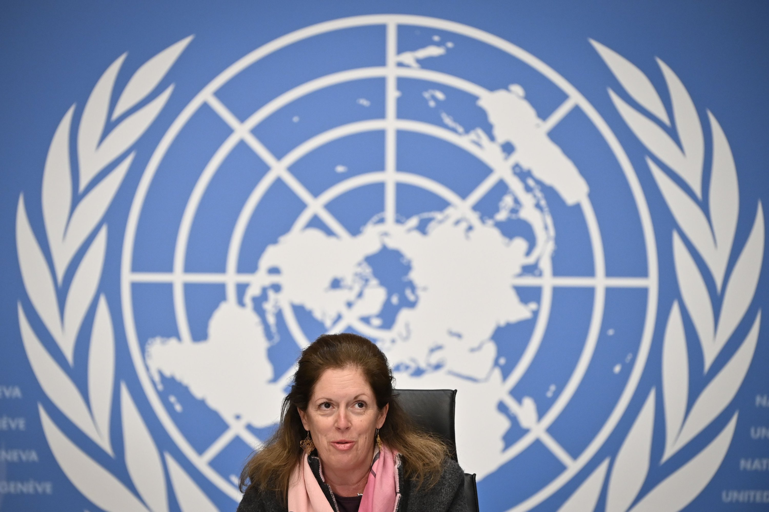 Deputy Special Representative of the U.N. Secretary-General for Political Affairs in Libya Stephanie Williams speaks during a press conference in Geneva, Switzerland, Feb. 5, 2021. (AFP Photo)