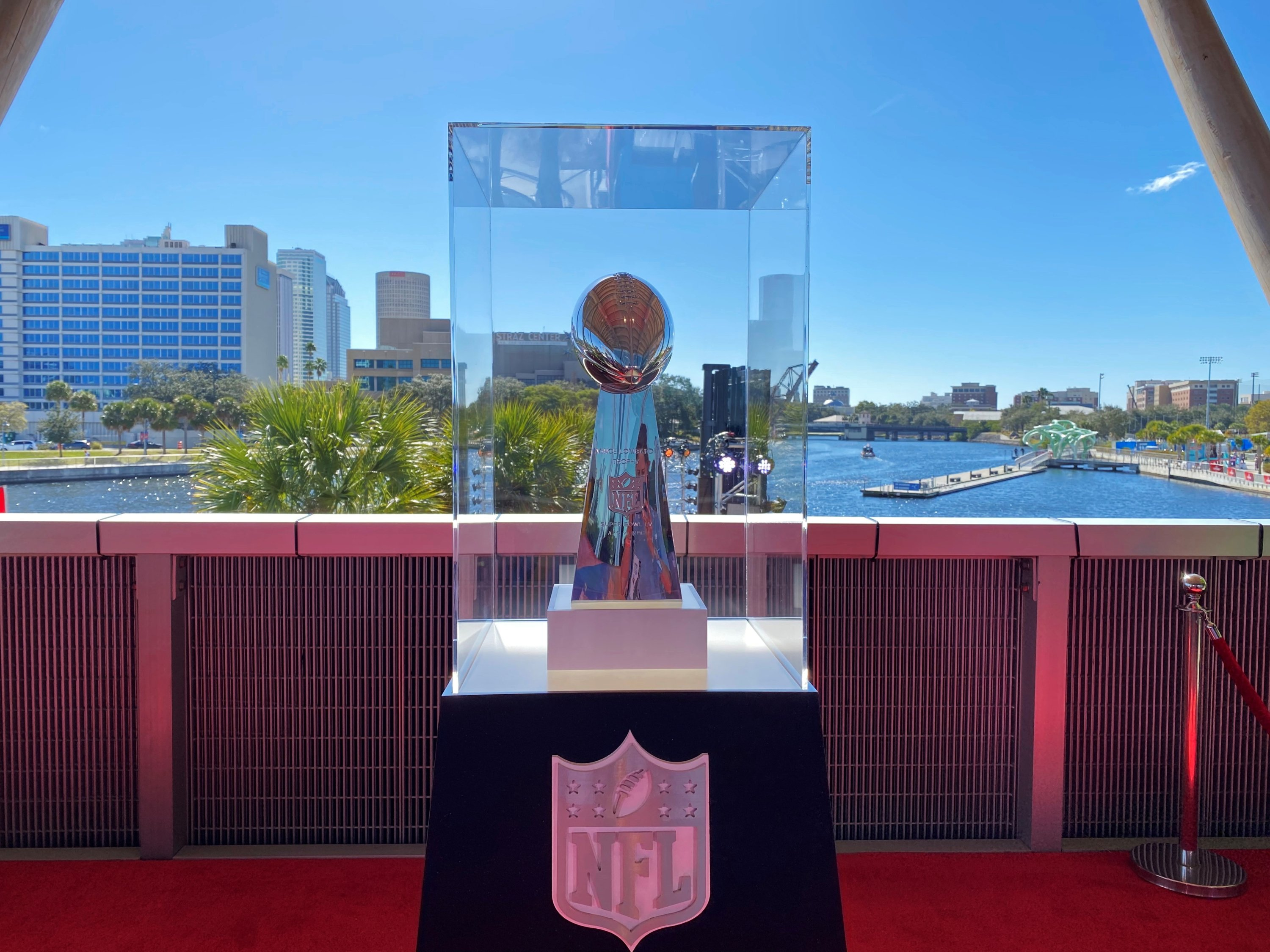 The Vince Lombardi trophy on display before it is awarded to the winning team of Super Bowl LV in Tampa, Florida, U.S., Feb. 5, 2021. (REUTERS Photo)