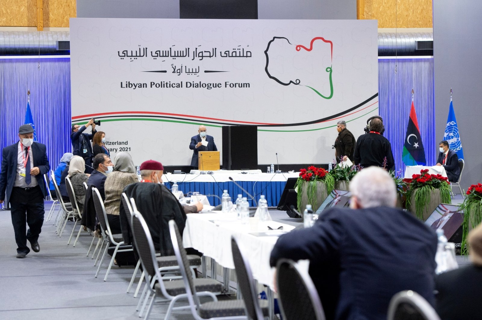 Delegates cast their vote for the election of a new interim government for Libya during the Libyan Political Dialogue Forum in Chavannes-de-Bogis near Geneva, Switzerland, Feb. 5, 2021. (Reuters Photo)