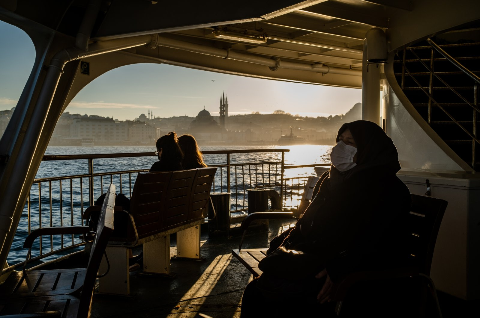 People travel by ferry amid the coronavirus outbreak, Istanbul, Turkey, Feb. 5, 2021. (Photo by Getty Images)