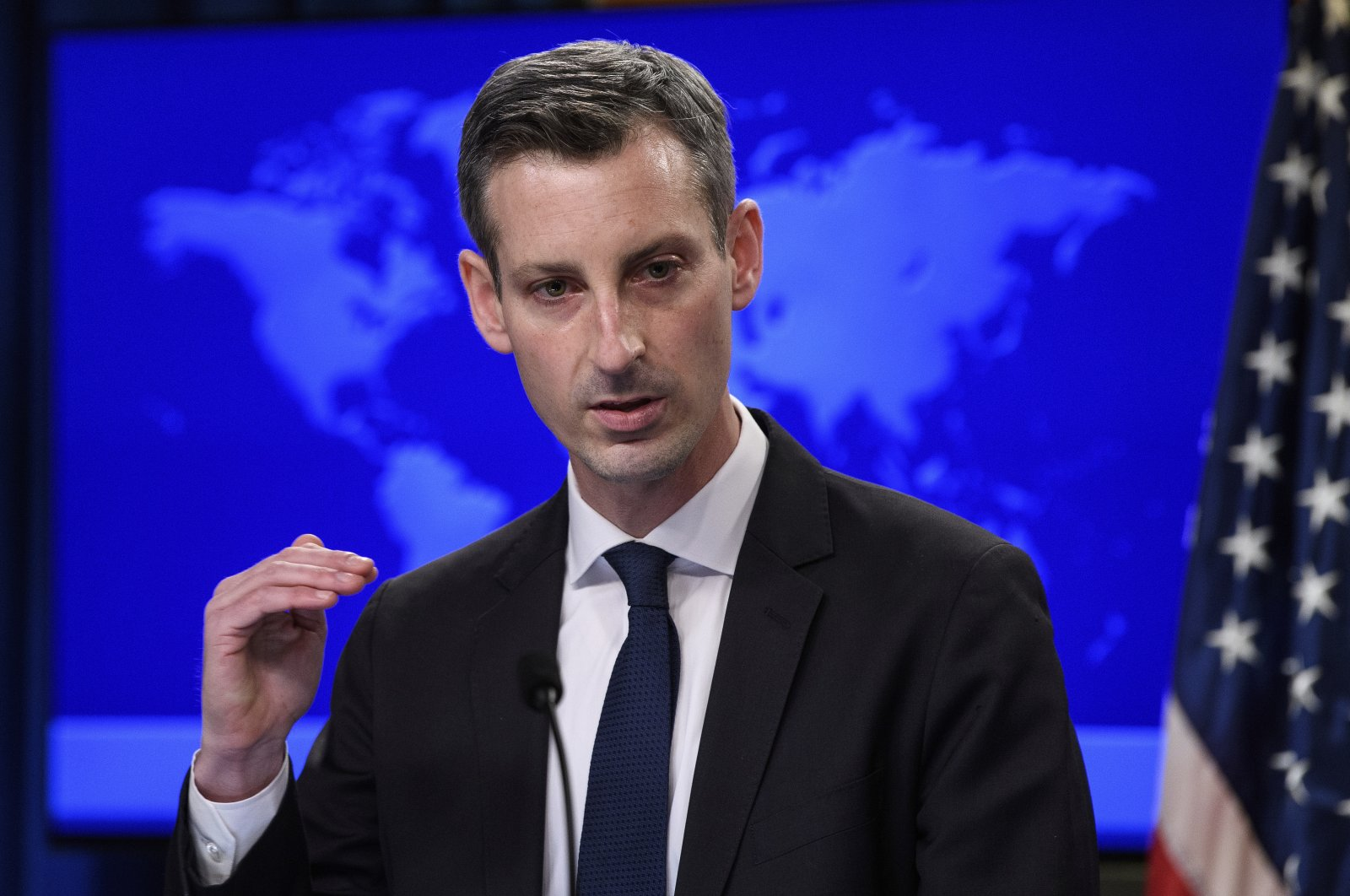 U.S. State Department spokesperson Ned Price speaks during a press briefing in Washington, D.C., the U.S., Feb. 2, 2021. (AP Photo)