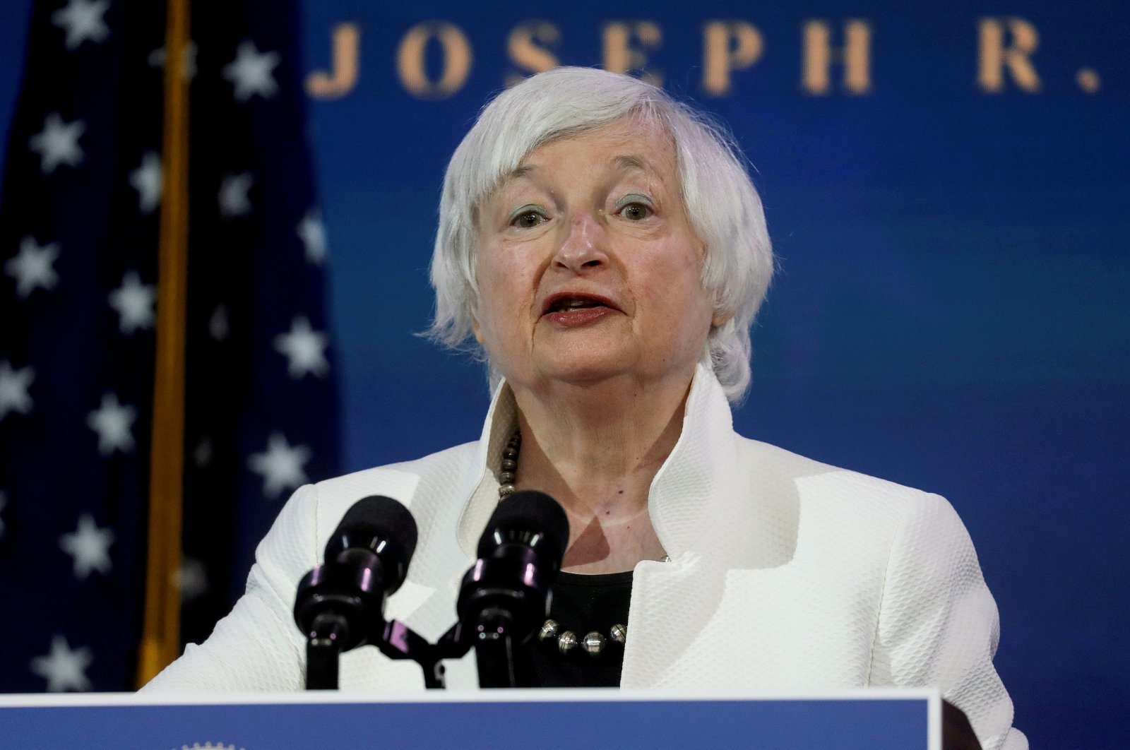 Janet Yellen speaks as Biden announces nominees and appointees to serve on his economic policy team at his transition headquarters in Wilmington, Delaware, U.S., Dec. 1, 2020. (Reuters Photo)