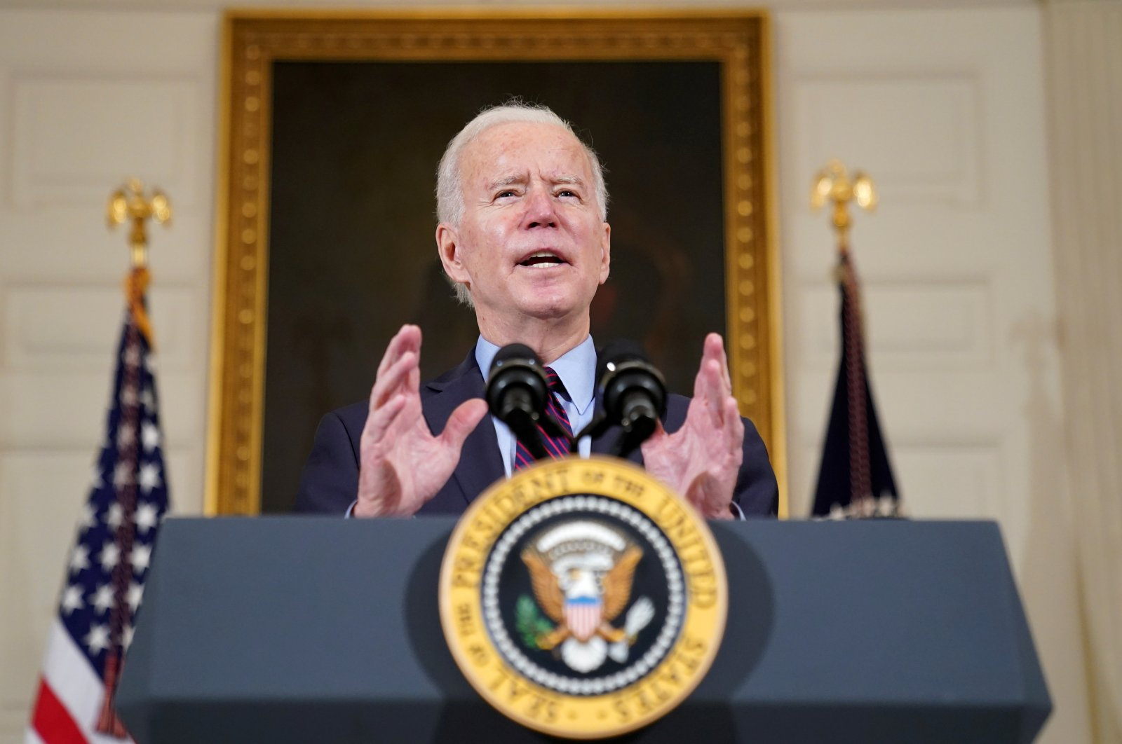 U.S. President Joe Biden delivers remarks in the State Dining Room at the White House in Washington, U.S., Feb. 5, 2021. (Reuters Photo)