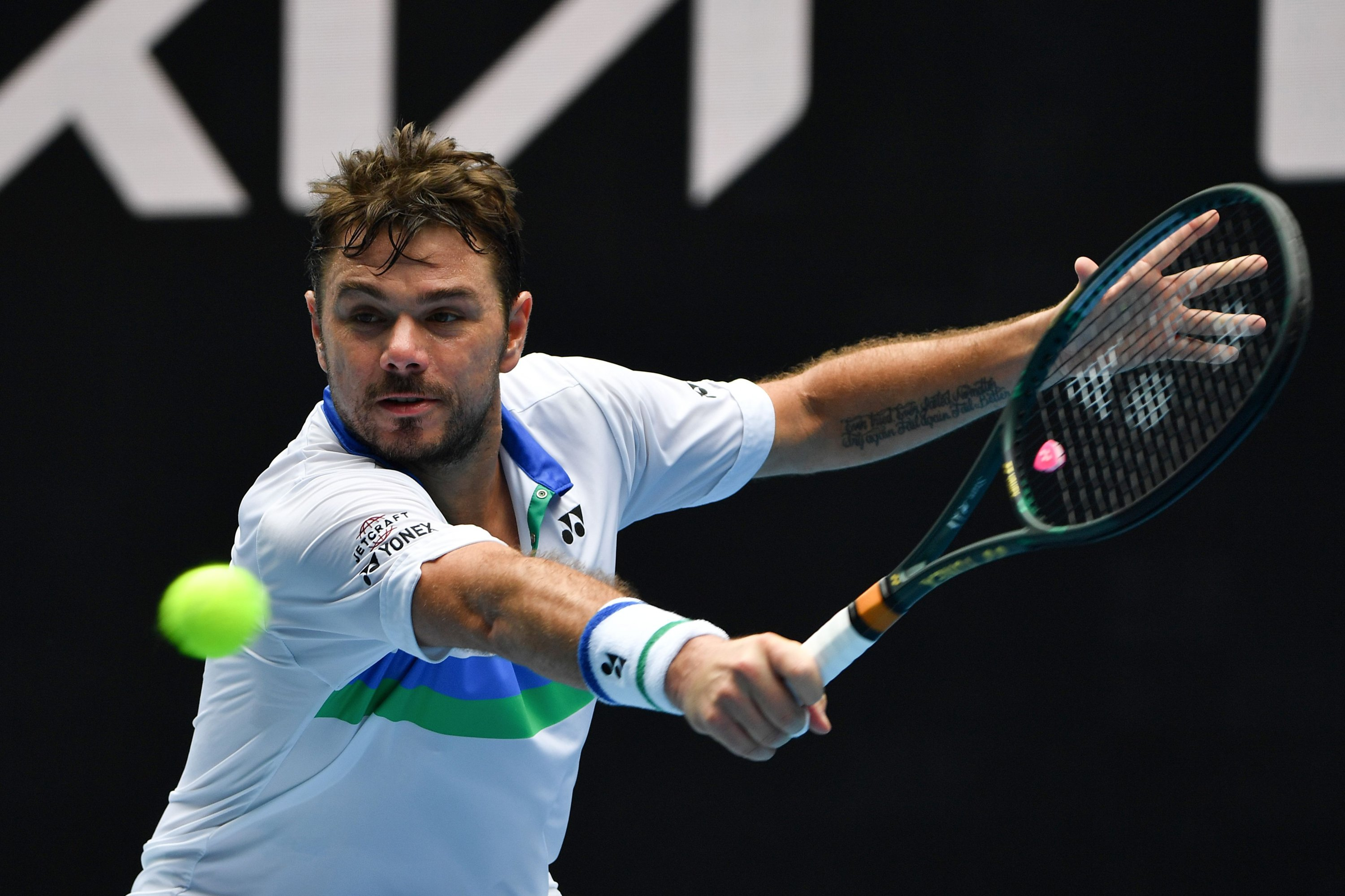 Switzerland's Stan Wawrinka hits a return against Portugal's Pedro Sousa during their first-round Australian Open match, Melbourne, Australia, Feb. 8, 2021. (AFP Photo)