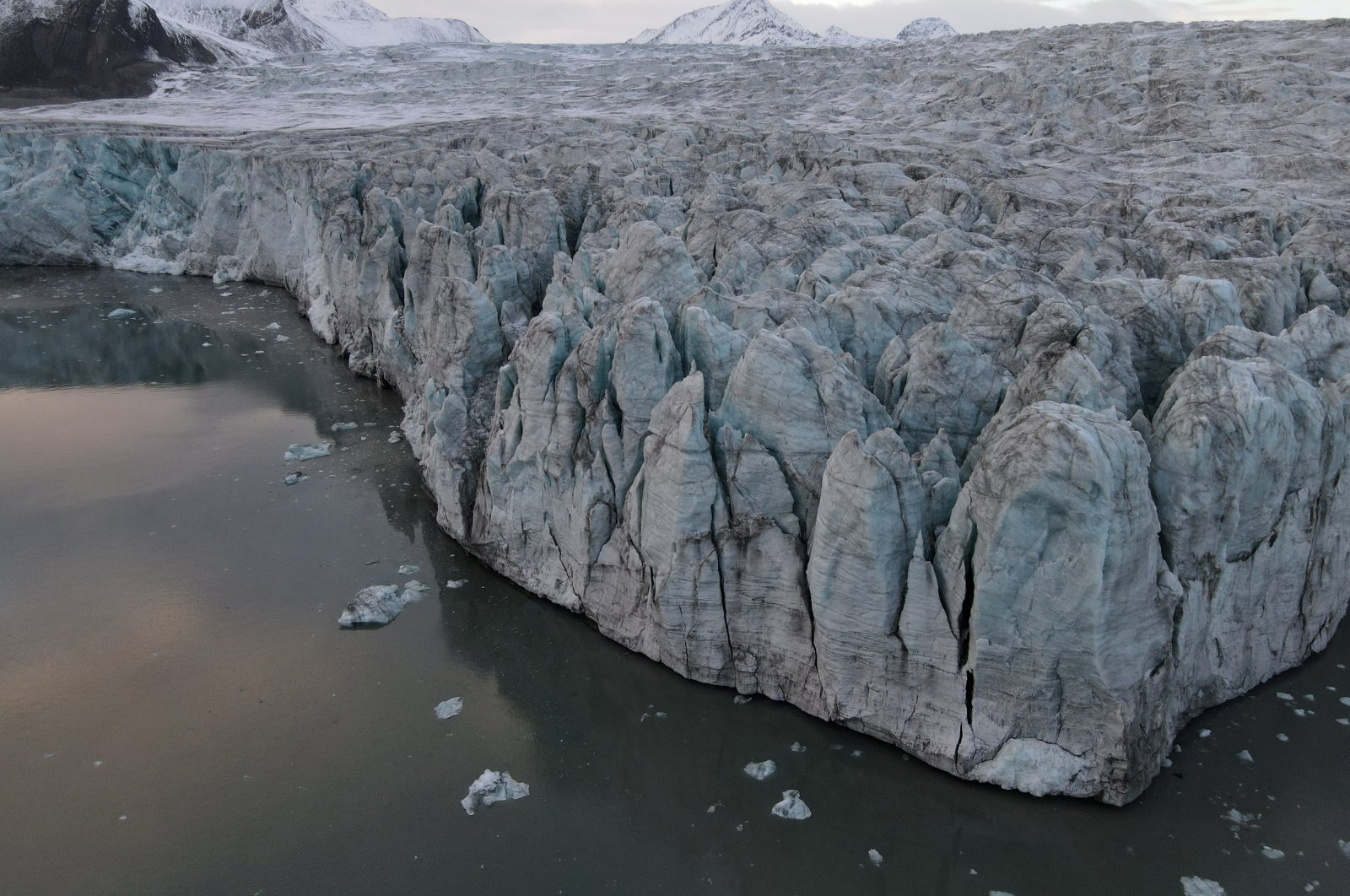 A view of the Esmarkbreen glacier on Spitsbergen island, part of the Svalbard archipelago in northern Norway, Sept. 24, 2020. (Reuters Photo)