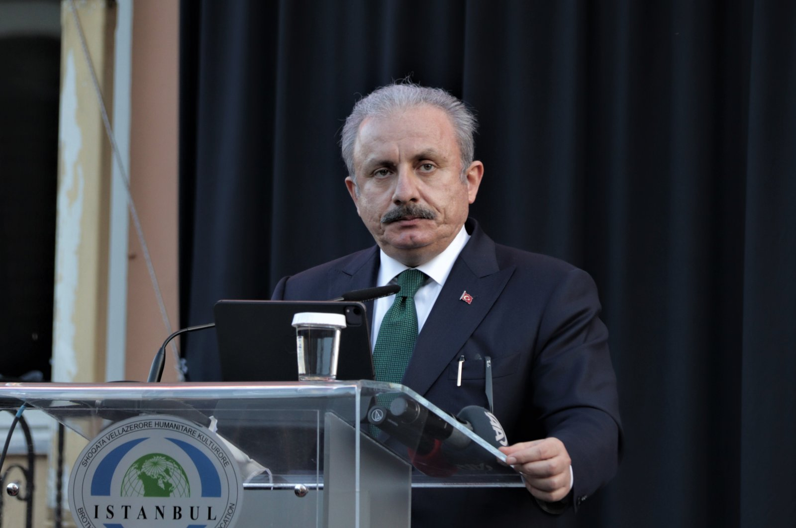 Turkish Parliament Speaker Mustafa Şentop speaks at the Hacı Şeyh Şamia Imam Hatip High School in Shkodër, Albania, Feb. 5, 2021. (AA Photo)