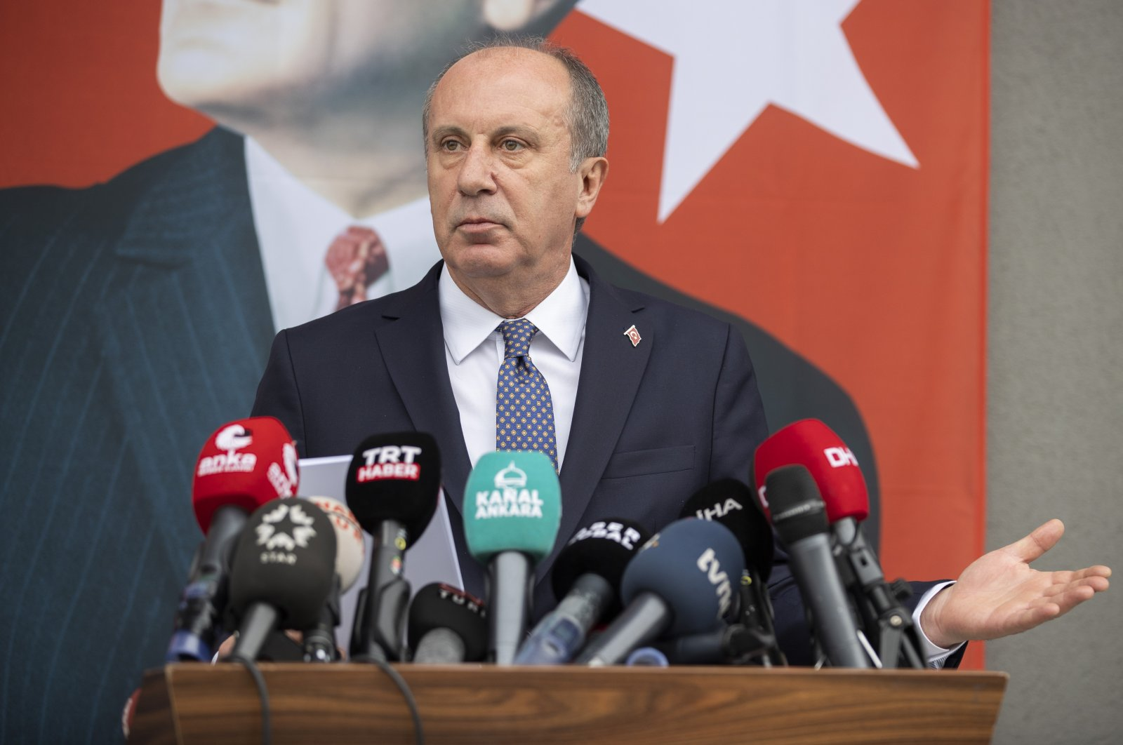 Former presidential candidate and main opposition Republican People's Party (CHP) dissident Muharrem Ince addresses reporters at a news conference in the capital Ankara, Turkey, Feb. 8, 2021. (AA Photo)