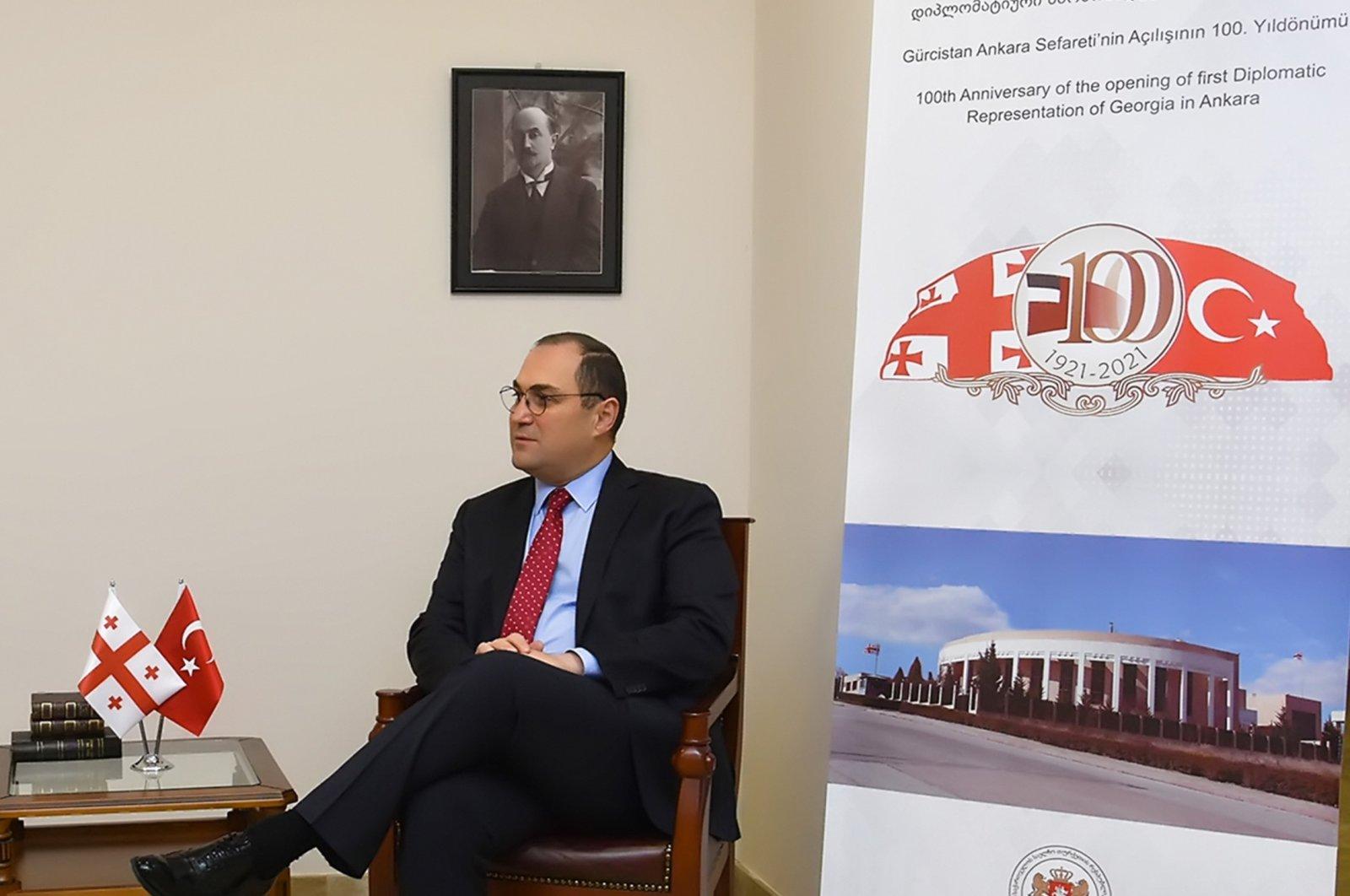 Georgian Ambassador to Ankara Giorgi Janjgava speaks on the 100th anniversary of the opening of the embassy, Ankara, Feb. 8, 2021. (AA Photo)