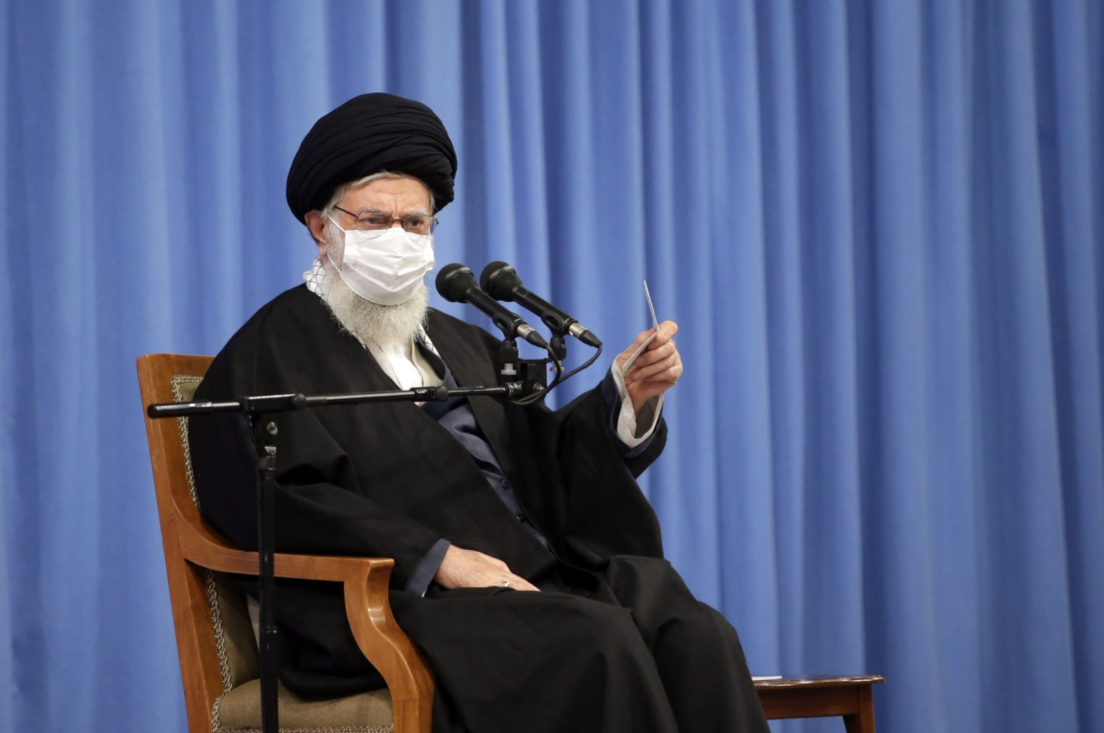 Supreme Leader Ayatollah Ali Khamenei speaks in a meeting, in Tehran, Iran, Dec. 16, 2020. (AP Photo)