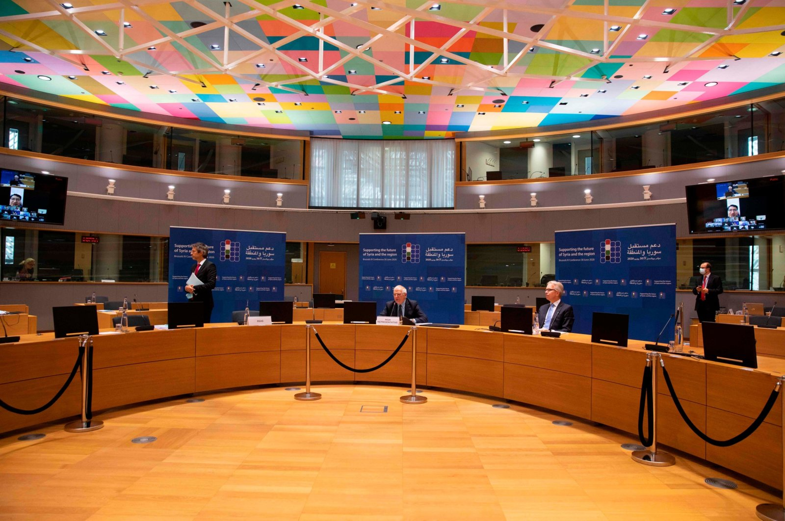 European Union foreign policy chief Josep Borrell addresses a meeting on aid for Syria, in videoconference format at the European Council building in Brussels, Belgium, June 30, 2020. (AFP Photo)