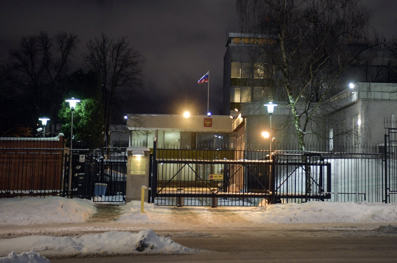 A general view of the Russian embassy in Stockholm, Sweden, Feb. 8, 2021. (Janerik Henriksson/TT News Agency via AP)