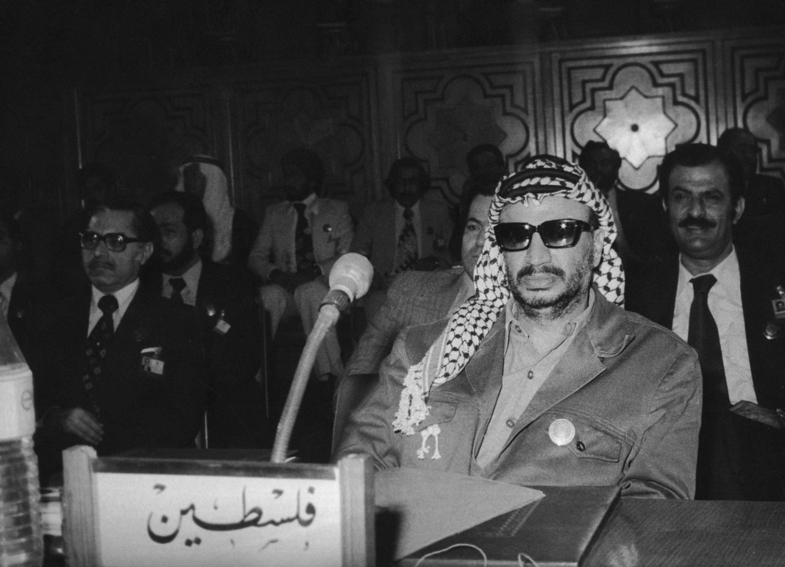 Palestinian political leader Yasser Arafat attends the inaugural session of the 12th Arab summit in Cairo, Eygpt, Oct. 25, 1976. (Photo by Getty Images)