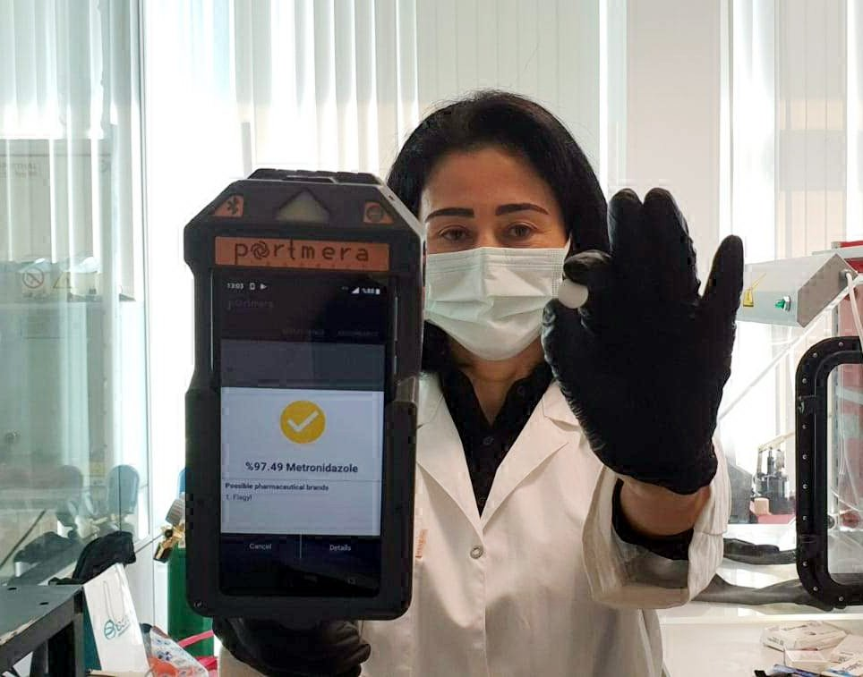 Dr. Derya Cebeci shows the device she developed, in Istanbul, Turkey, Feb. 9, 2021. (DHA PHOTO)