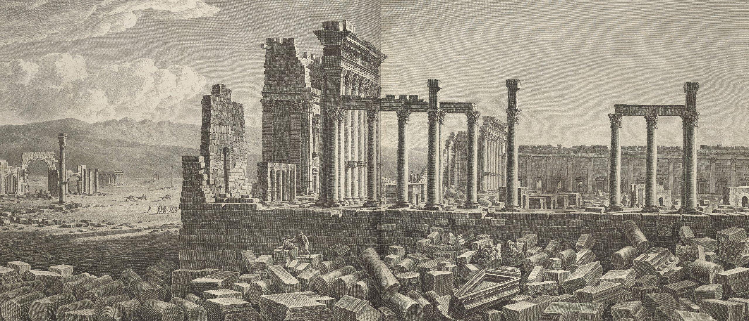 """Temple of Bel,"" Desmaisons and Jean-Baptiste Lienard after Louis-François Cassas, etching, 45.5 by 92.5 centimeters. (Courtesy of Getty)"