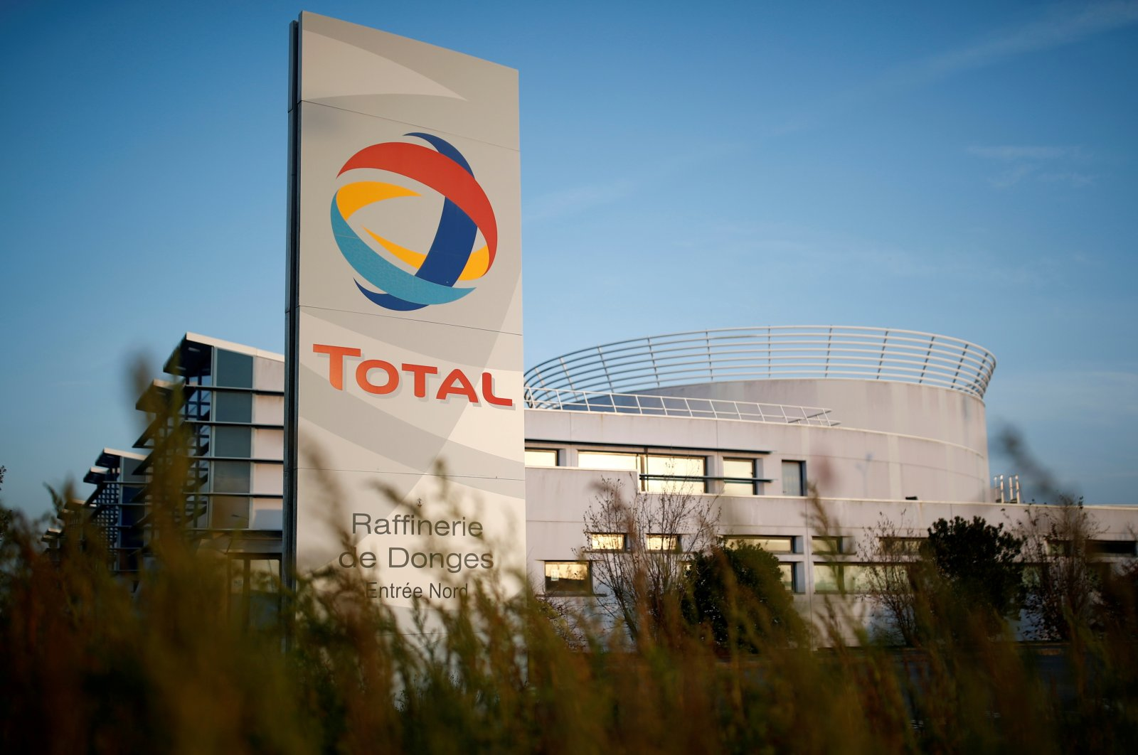 The logo of French oil giant Total Refinery is seen in Donges, France, Nov. 25, 2020. (Reuters Photo)