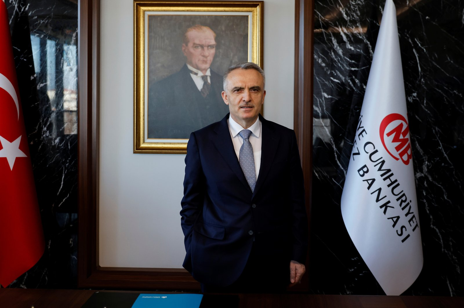 Central Bank of the Republic of Turkey (CBRT) Governor Naci Ağbal poses during an interview in his office in Istanbul, Turkey, Feb. 4, 2021. (Reuters Photo)