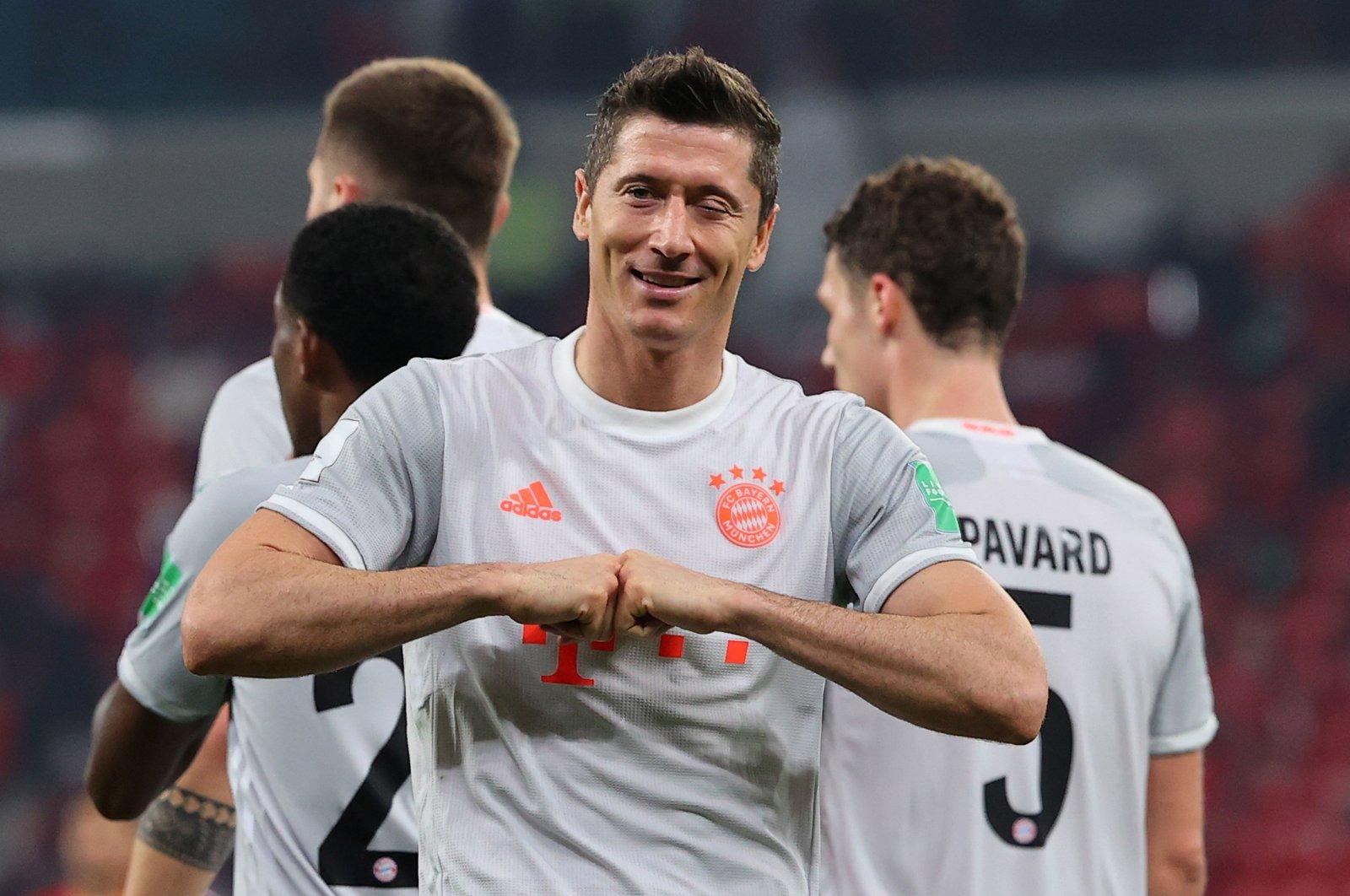 Bayern Munich's Polish forward Robert Lewandowski celebrates his second goal in the FIFA Club World Cup semifinal against Egypt's Al-Ahly at the Ahmed bin Ali Stadium, Al-Rayyan, Qatar, Feb. 8, 2021. (AFP Photo)