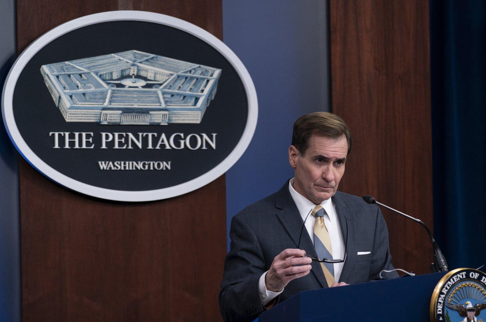 Pentagon spokesperson John Kirby speaks during a media briefing at the Pentagon in Washington, D.C., U.S., Feb. 8, 2021. (AP Photo)