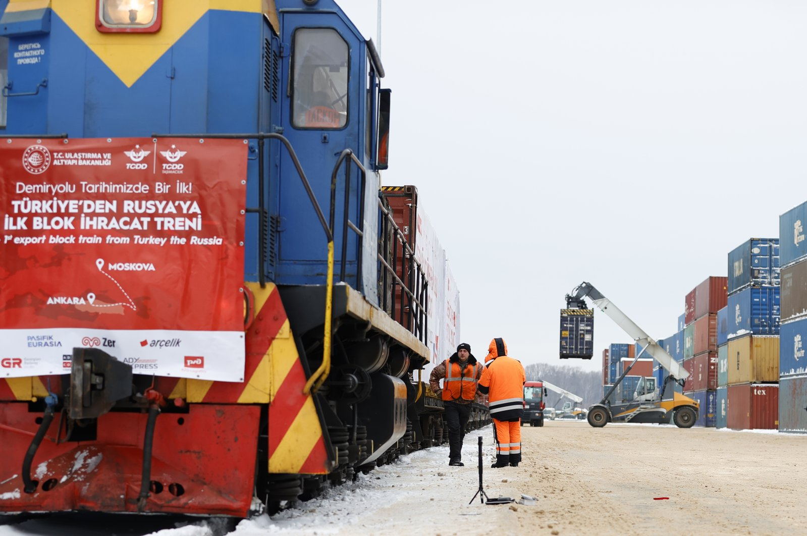 The first block export train from Turkey to Russia arrives at its final destination, Kaluga, Russia, Feb. 9, 2021. (AA Photo)