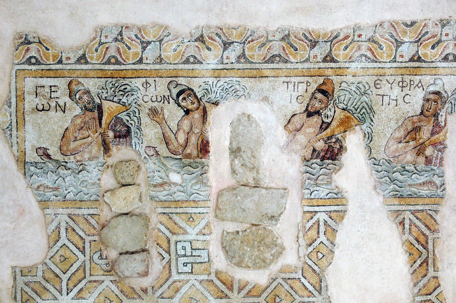 A mosaic on the floor of Church B in the ancient city of Hadrianopolis, Karabük, northern Turkey, Feb. 8, 2020. (AA PHOTO)