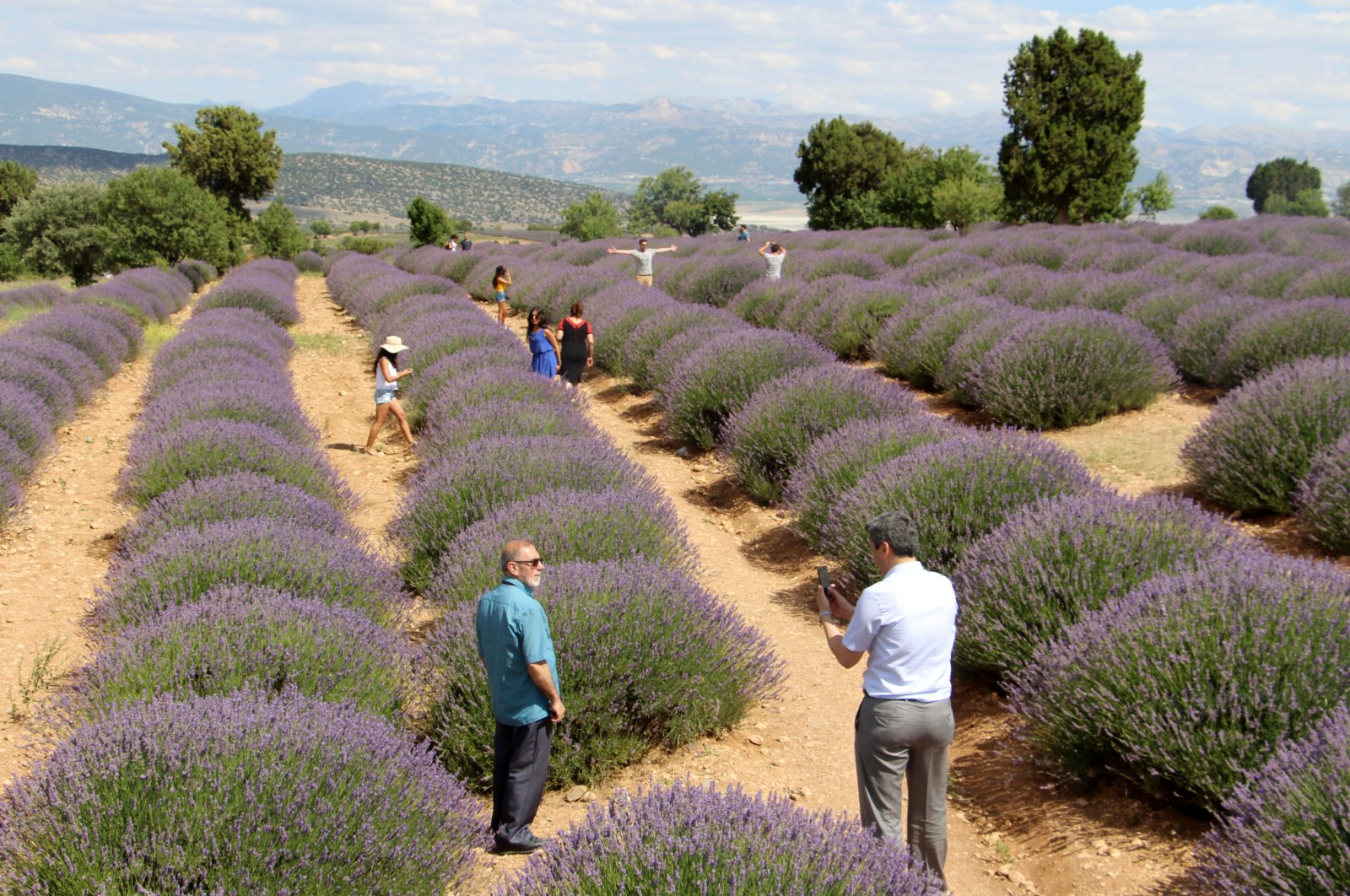 People stand among the village's lavender fields, from which the community earns its main source of income, Kuyucak, Isparta, western Turkey. (DHA Photo)