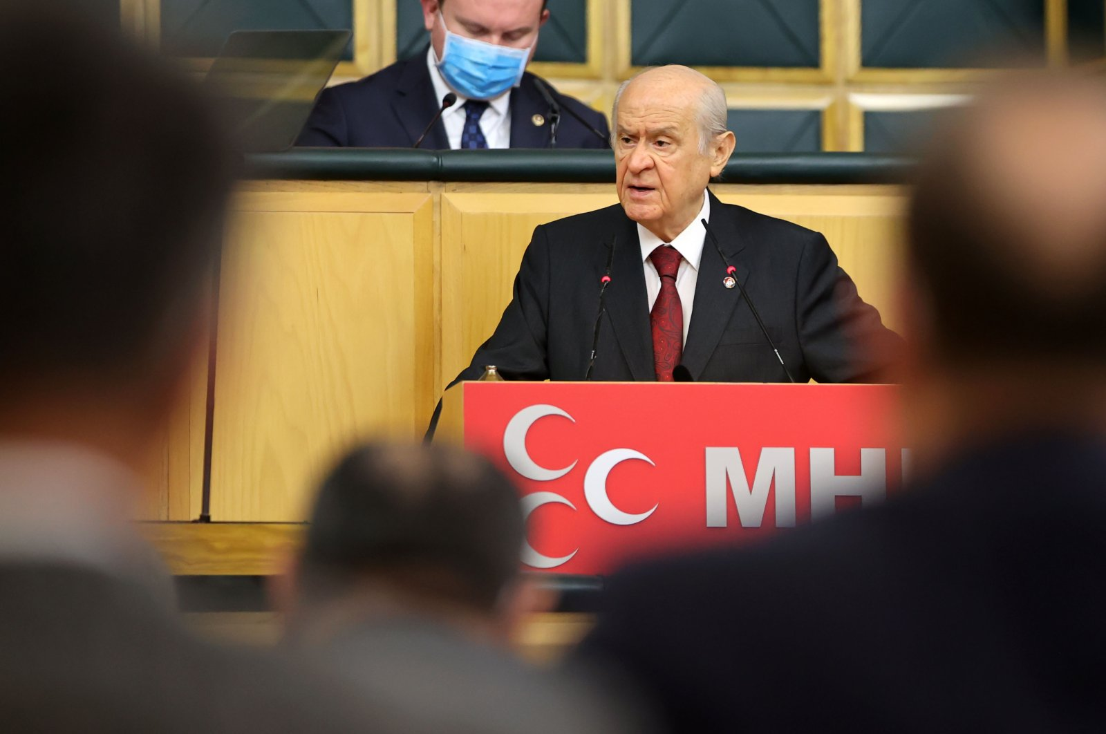 Head of the Nationalist Movement Party (MHP) Devlet Bahçeli speaking at his party's parliamentary group meeting in Ankara, Feb. 9, 2021. (AA Photo)
