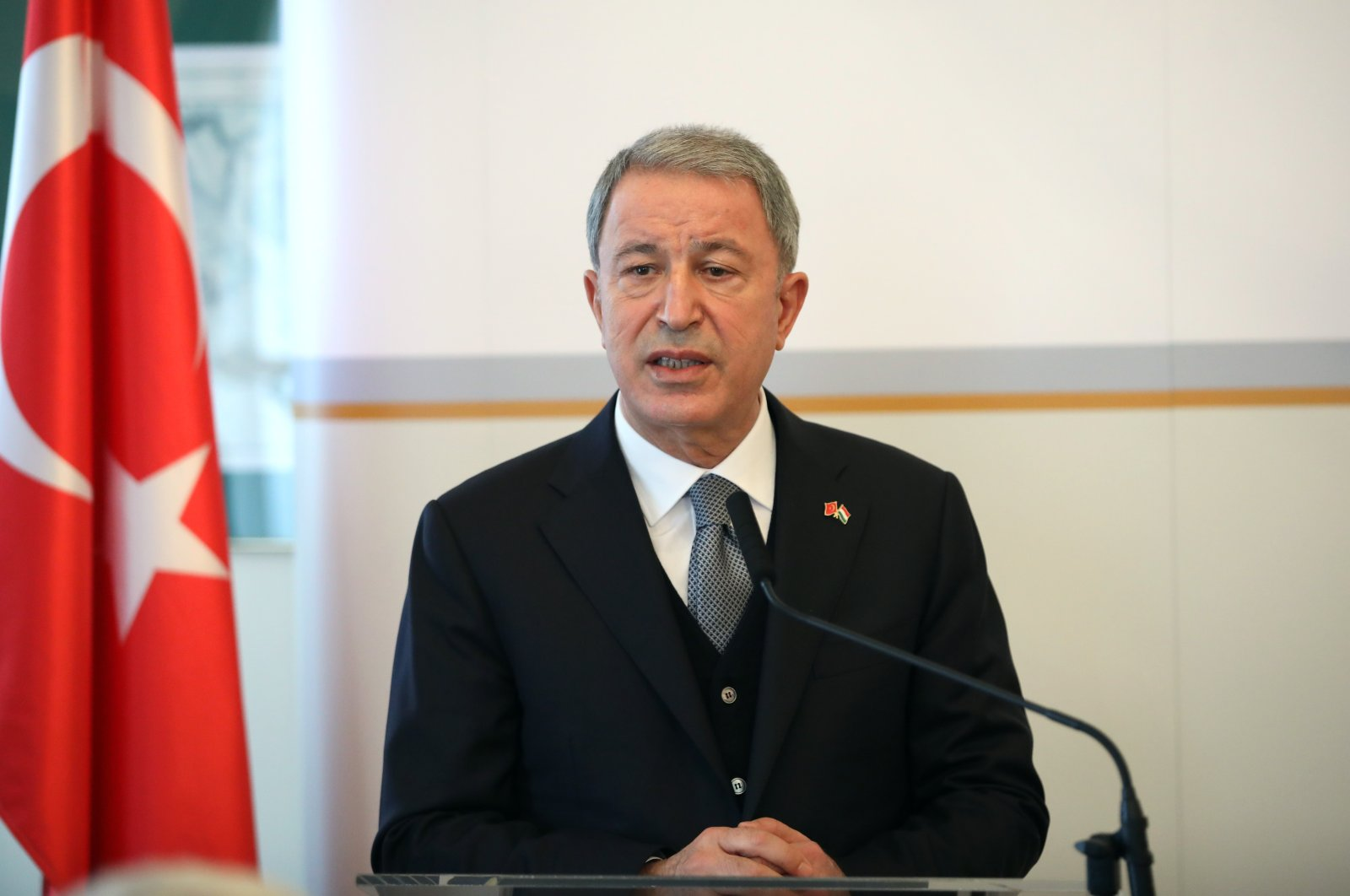 Defense Minister Hulusi Akar during a press conference in Budapest, Hungary, Feb. 3, 2021. (AA Photo)