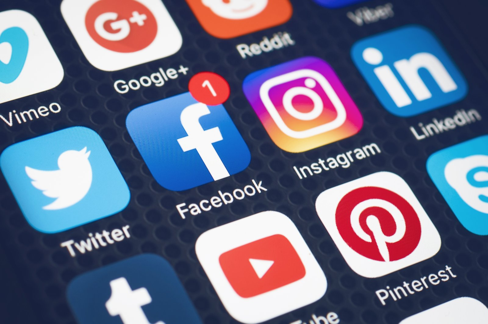 Logos of social apps are seen on a screen of a phone, in Hilversum, Netherlands, Feb. 6, 2017. (Shutterstock Photo)