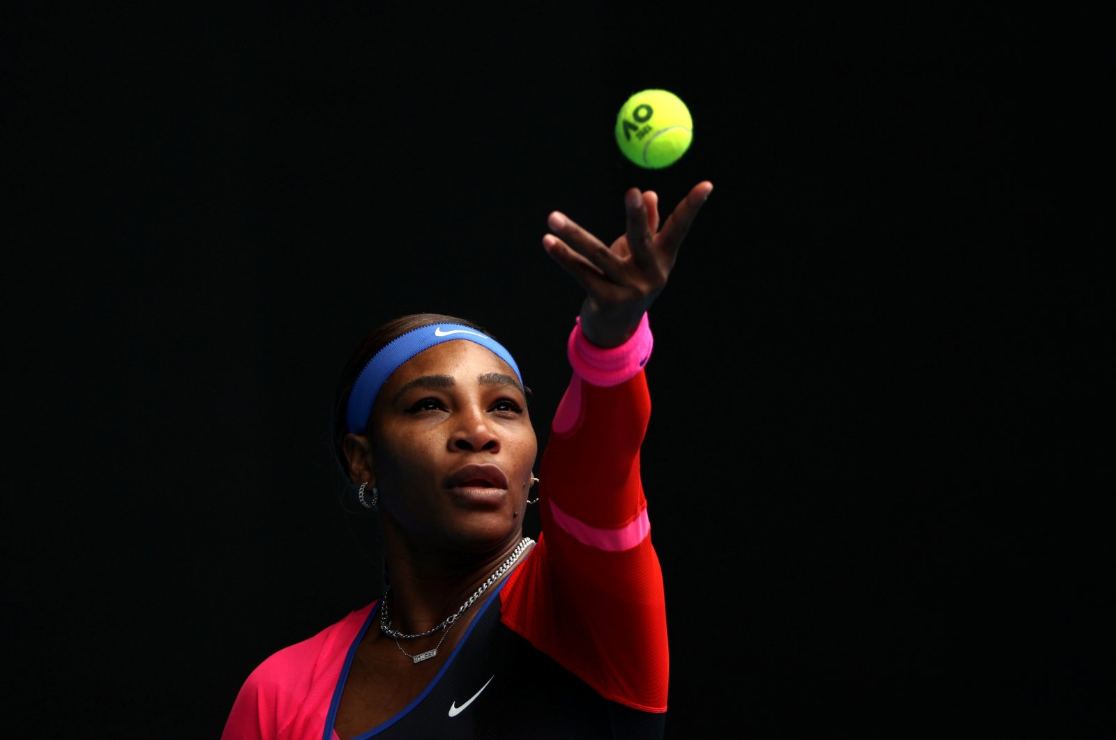 Serena Williams in action during her first-round Australian Open match against Germany's Laura Siegemund at Melbourne Park, Melbourne, Australia, Feb. 8, 2021. (Reuters Photo)
