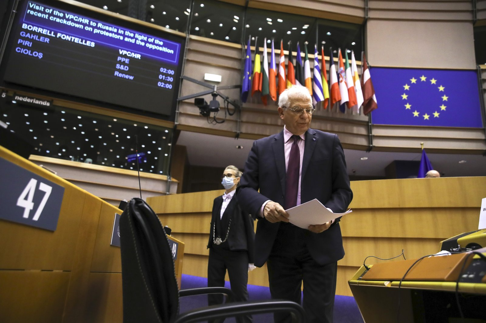 European Union foreign policy chief Josep Borrell arrives for a debate, regarding his recent trip to Russia, during a plenary session at the European Parliament in Brussels, Tuesday, Feb. 9, 2021. (Pool via AP)