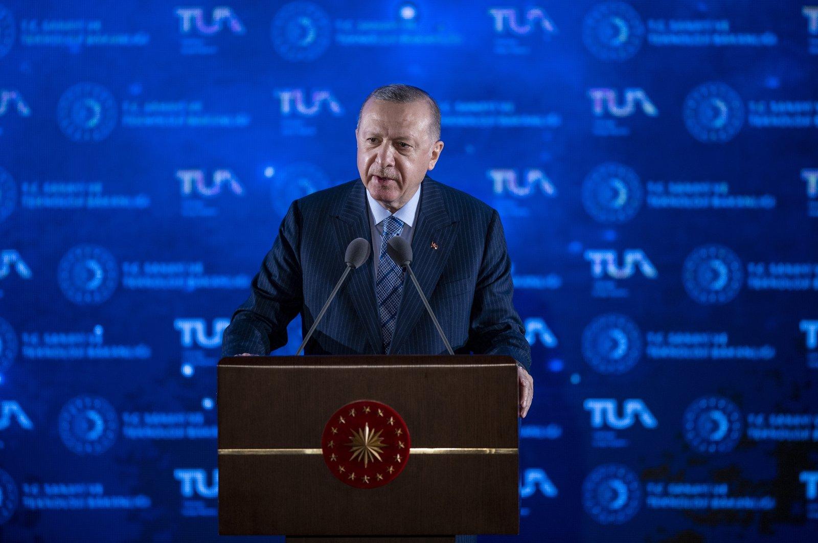 President Erdoğan speaks during the inauguration ceremony of Turkey's National Space Program in Ankara on Feb. 9, 2021 (AA Photo)