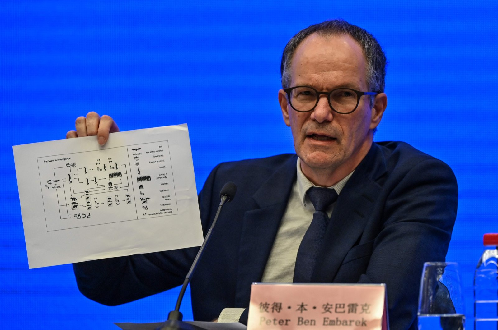 Peter Ben Embarek speaks during a press conference to wrap up a visit by an international team of experts from the World Health Organization (WHO) in the city of Wuhan, in China's Hubei province on Feb. 9, 2021. (AFP)