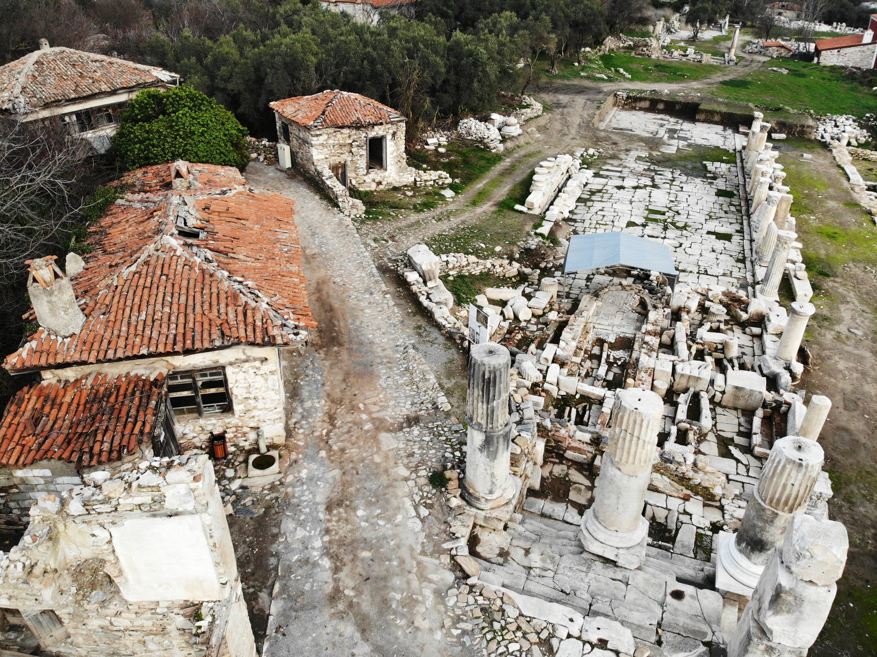 An aerial view from the ancient city of Stratonikeia, Muğla, southwestern Turkey, Feb. 9, 2021. (AA Photo)