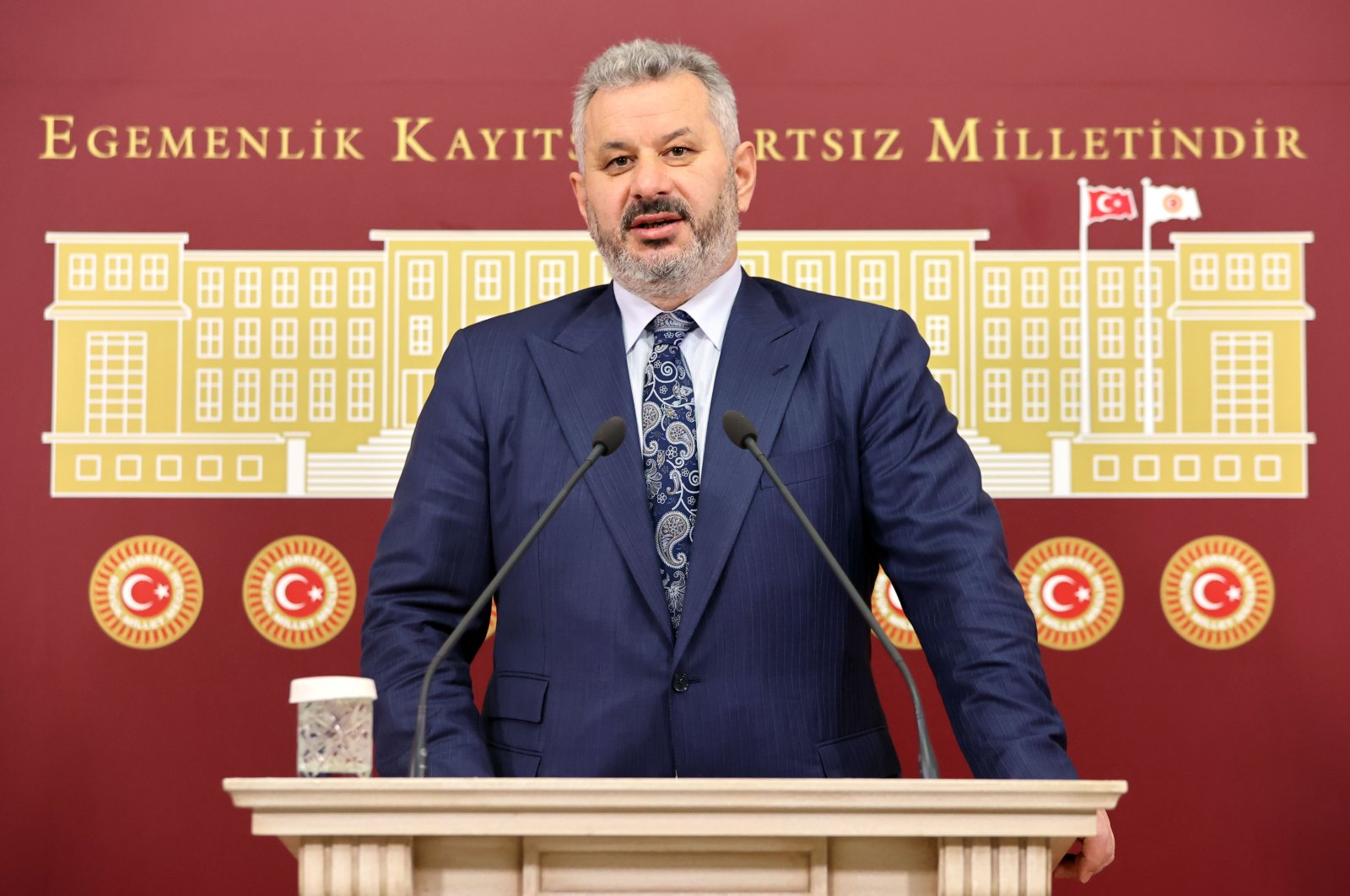 Ruling Justice and Development Party (AK Party) lawmaker Hasan Turan speaks at the parliament in the capital Ankara, Turkey, Feb. 9. 2021. (AA Photo)