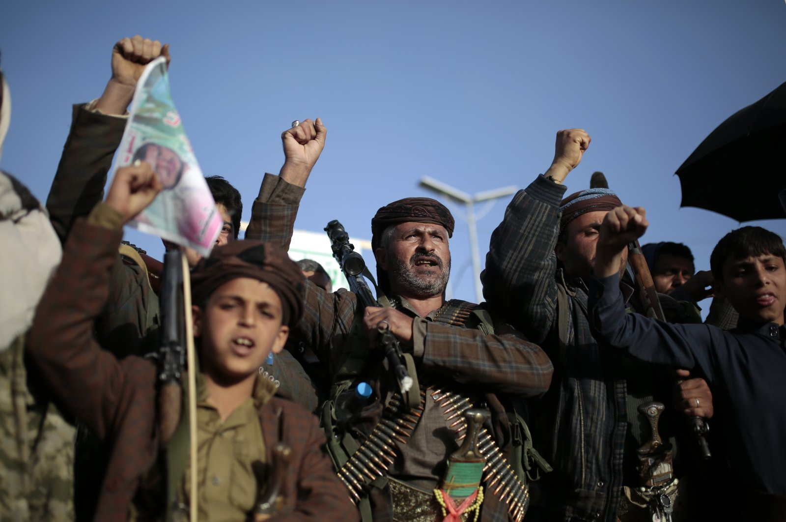 Houthi supporters chant slogans as they attend a demonstration against the United States over its decision to designate the Houthis a foreign terrorist organization in Sanaa, Yemen, Jan. 25, 2021. (AP Photo)