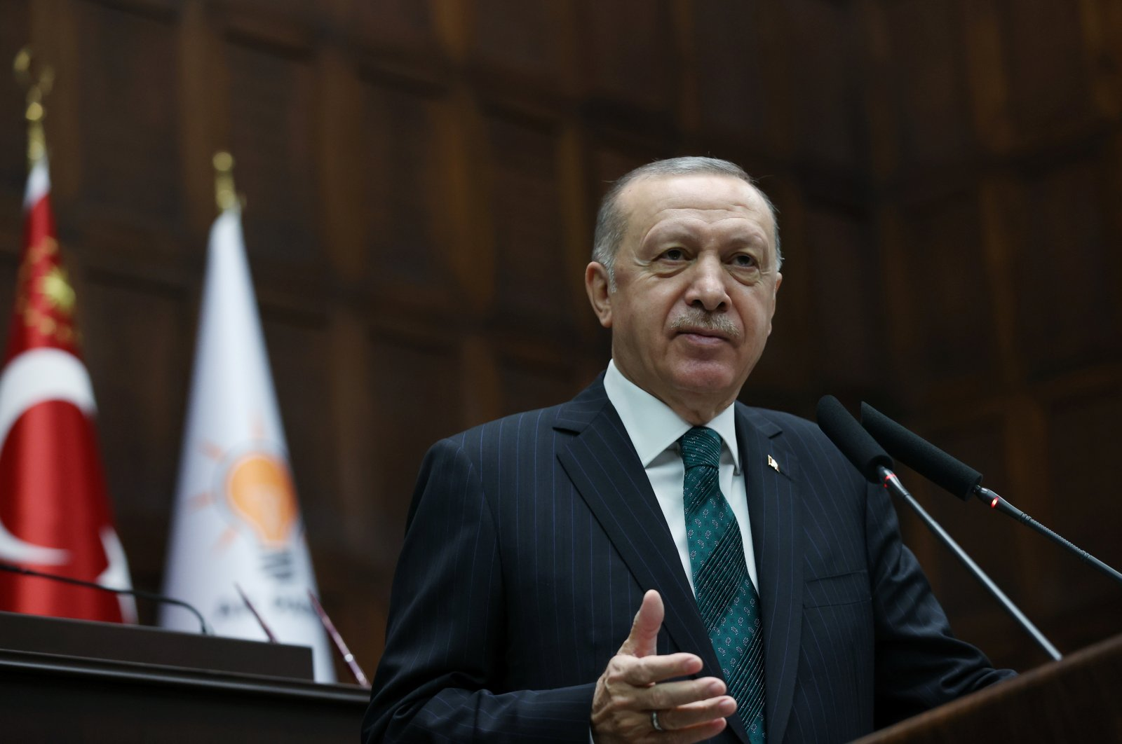 President Recep Tayyip Erdoğan addresses members of the Justice and Development Party (AK Party) during a meeting, Ankara, Turkey, Feb. 10, 2021. (Reuters Photo)
